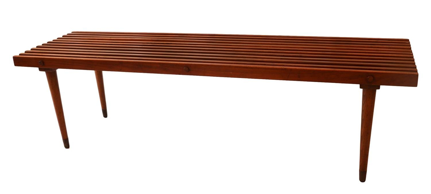 Mid Century Slatted Wood Bench Coffee Table George Nelson Style - for Nelson Coffee Tables (Image 11 of 30)