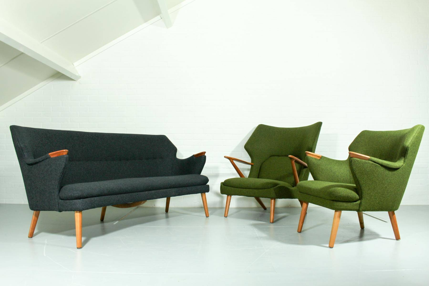 Mid-Century Sofa, Chairs, And Table Lounge Set For Sale At Pamono with Sofa Chairs (Image 19 of 30)
