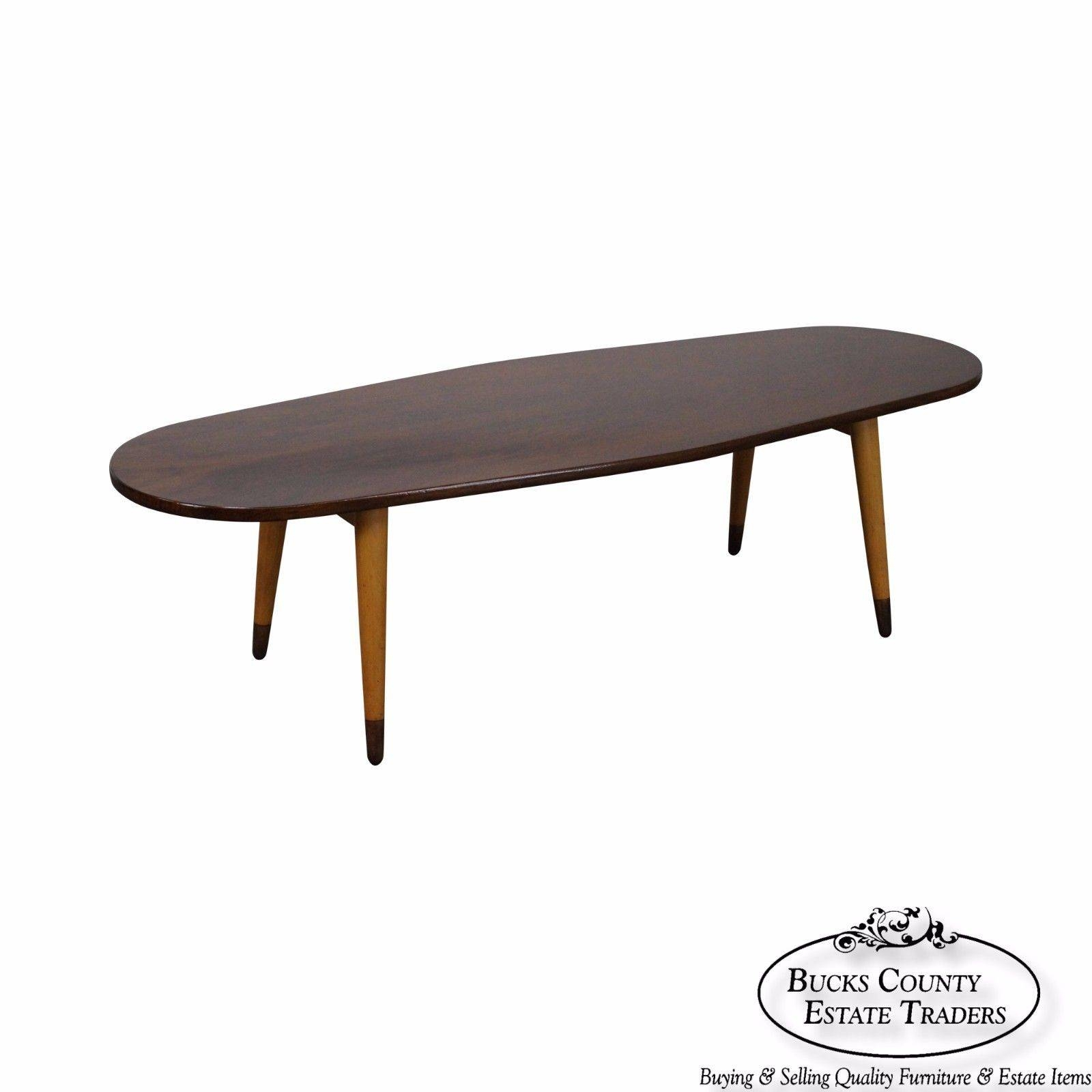 Mid Century Swedish Modern Oval Walnut Coffee Table - Bucks County inside Oval Walnut Coffee Tables (Image 18 of 30)