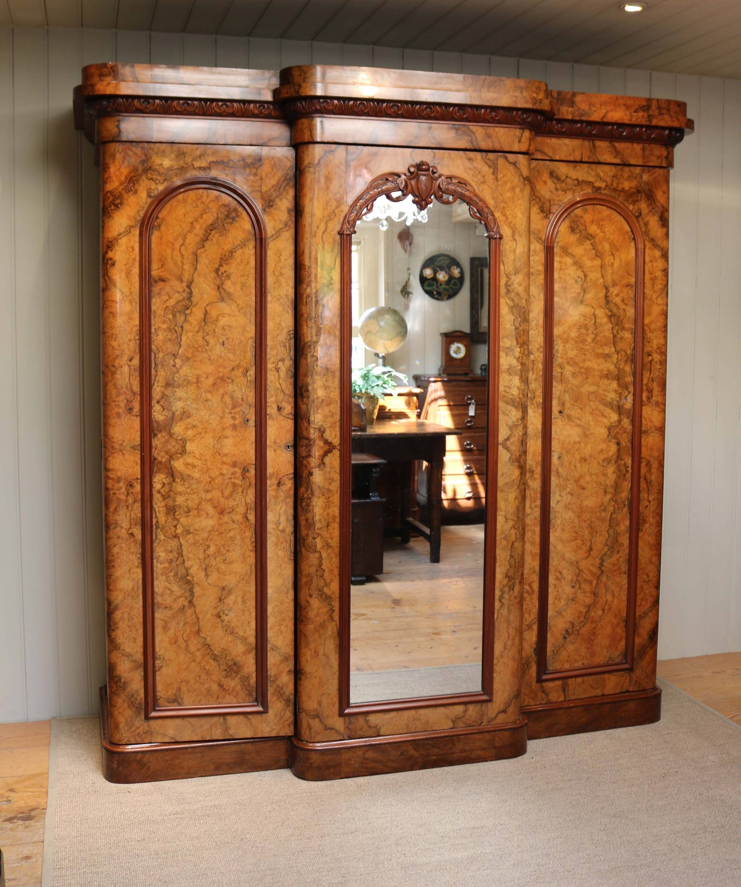 Mid Victorian Burr Walnut Break Front Wardrobe (C. 1870 English for Antique Breakfront Wardrobe (Image 17 of 30)