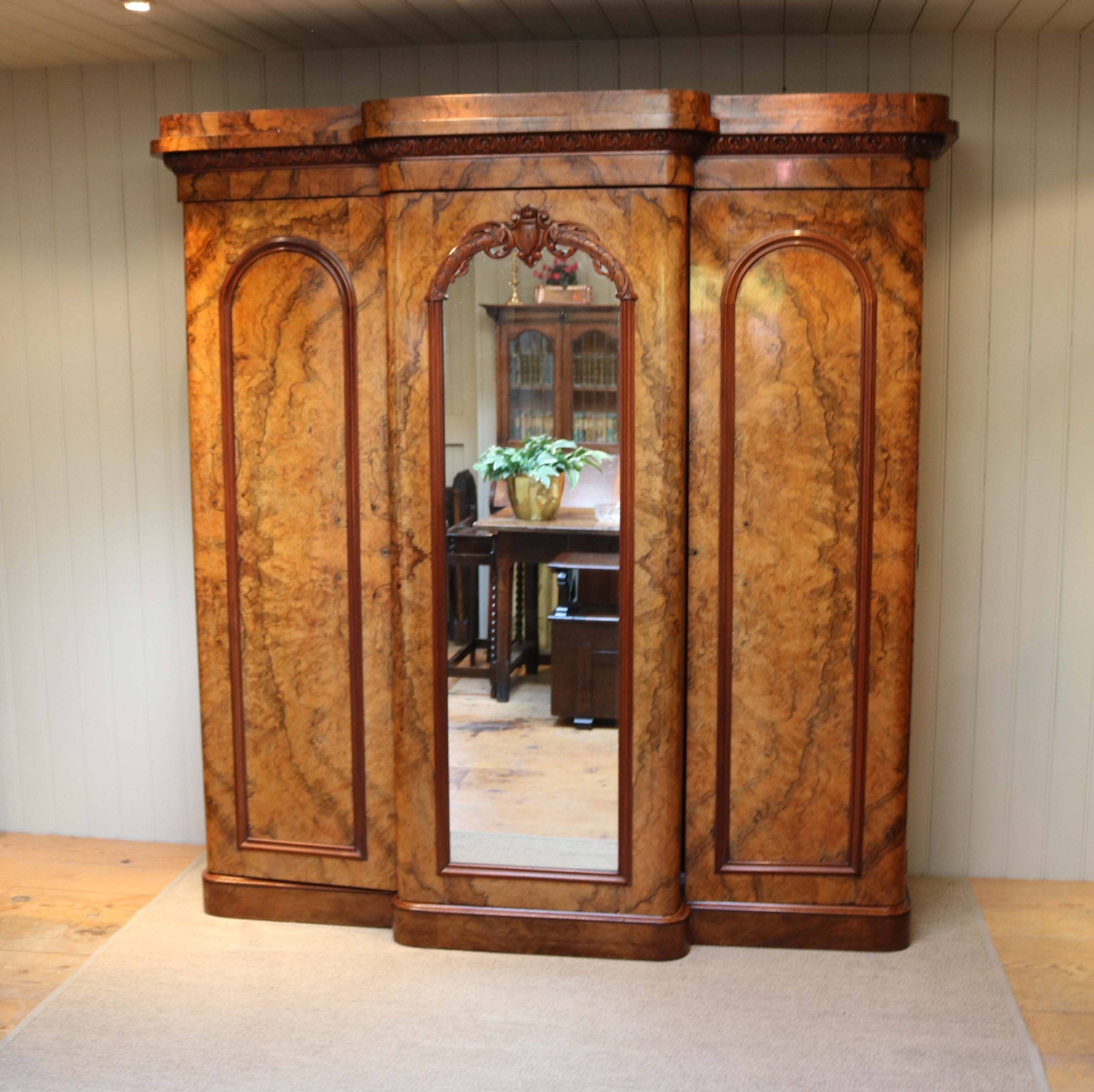 Mid Victorian Burr Walnut Break Front Wardrobe (C. 1870 English for Breakfront Wardrobe (Image 15 of 30)