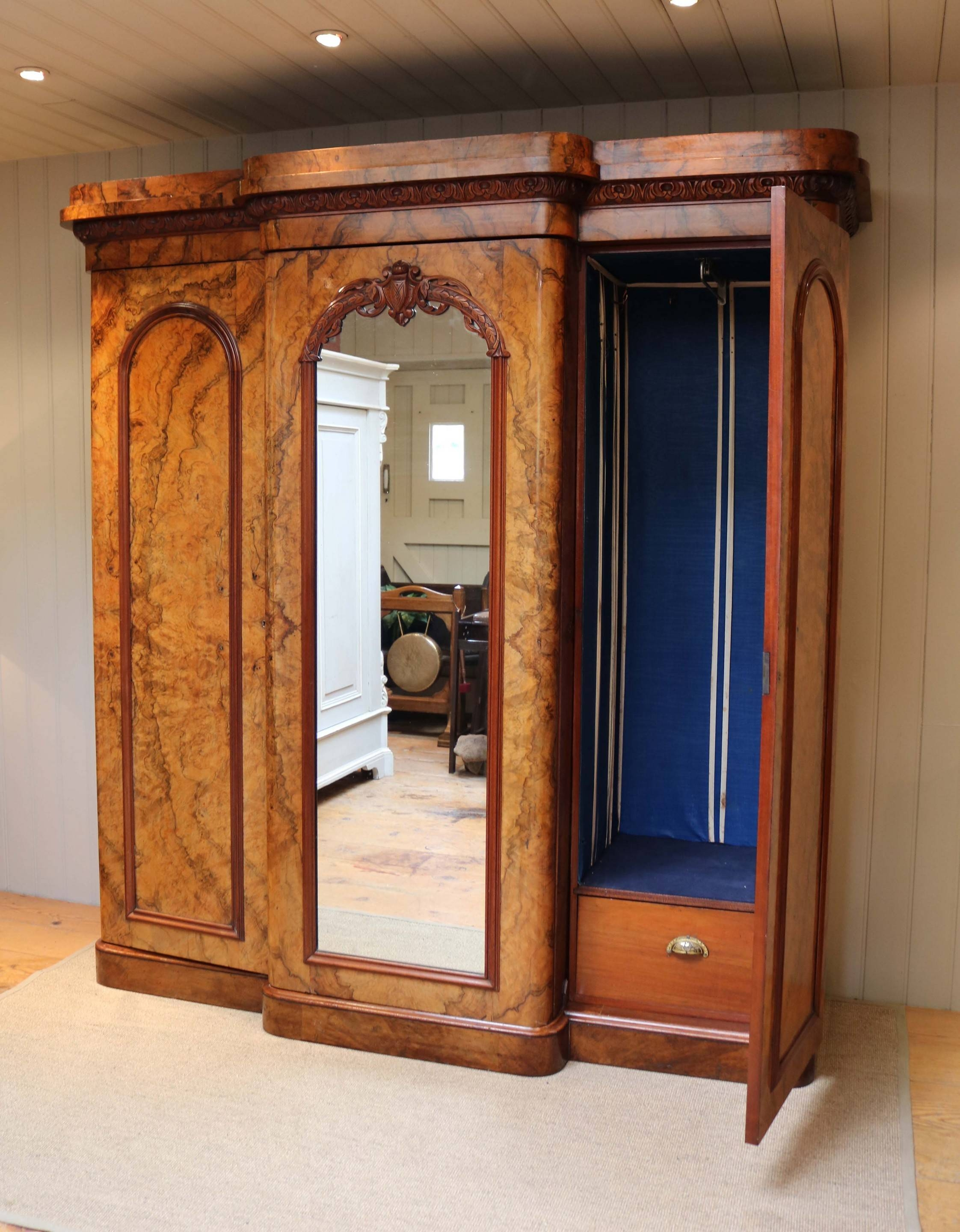 Mid Victorian Burr Walnut Break Front Wardrobe (C. 1870 English with regard to Antique Breakfront Wardrobe (Image 19 of 30)