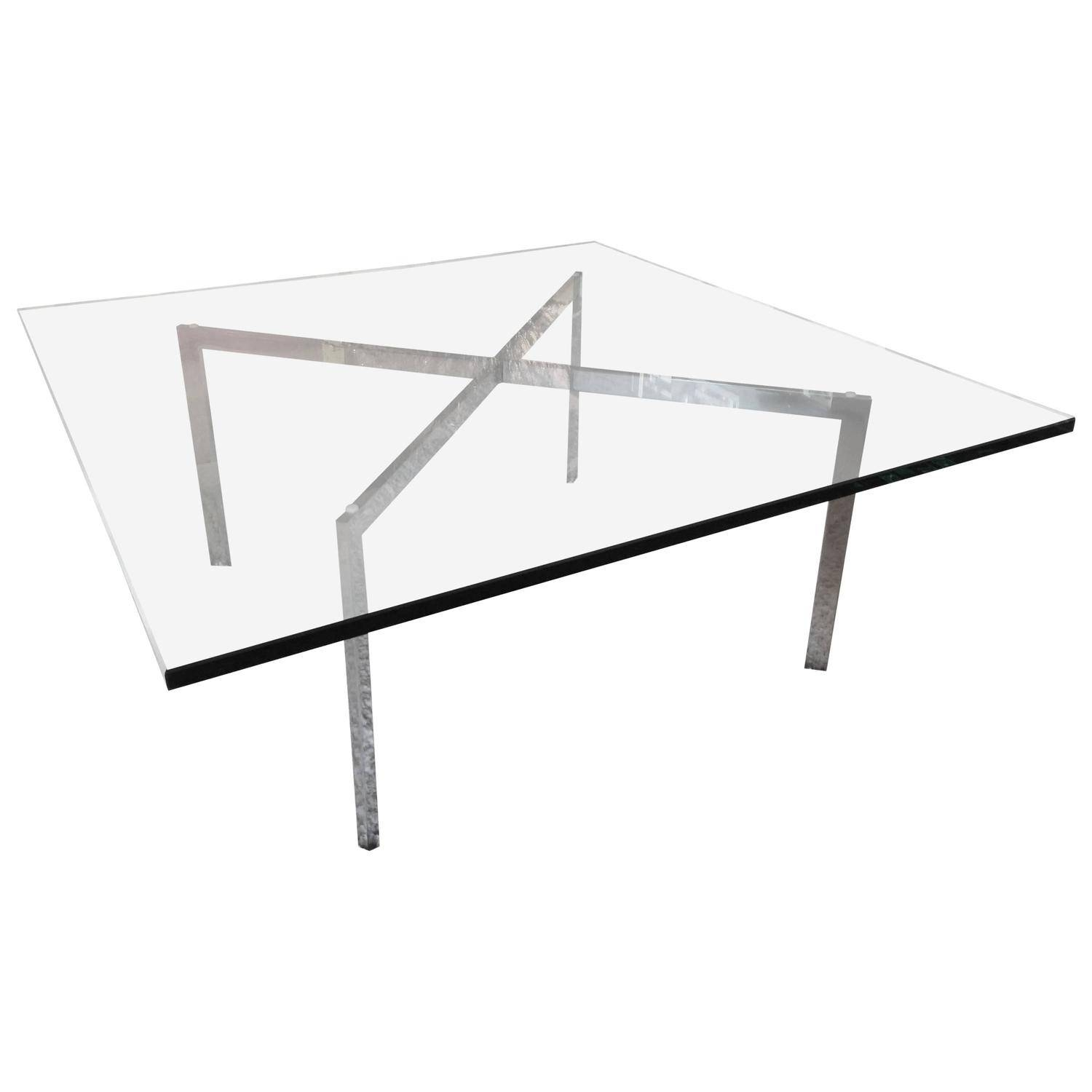 Mies Van Der Rohe For Knoll Barcelona X-Base Coffee Table At 1Stdibs with Chrome Coffee Table Bases (Image 25 of 30)
