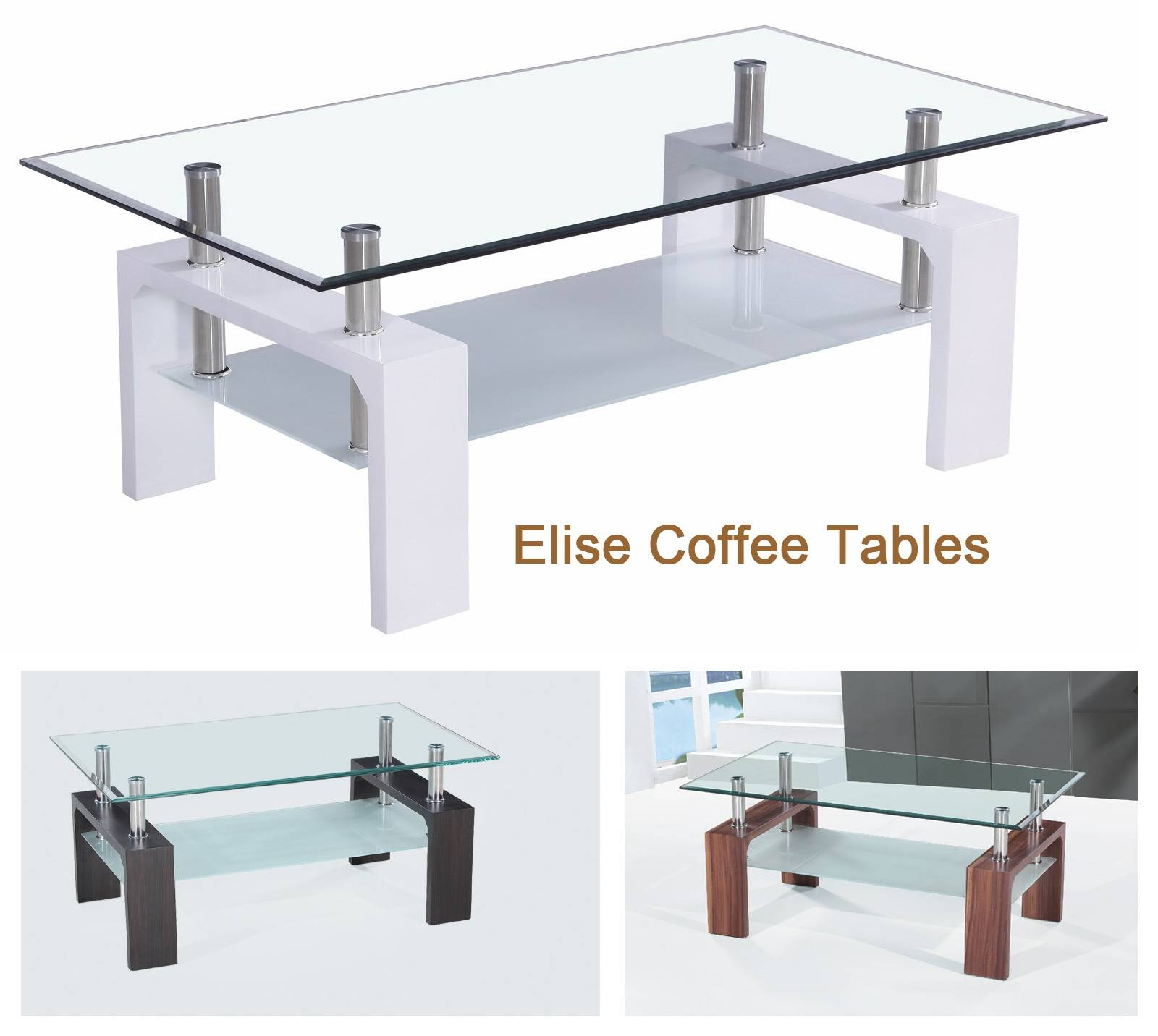 Milano Black Oak Coffee Table With Glass Shelf | Coffee Tables with Black Wood and Glass Coffee Tables (Image 18 of 30)