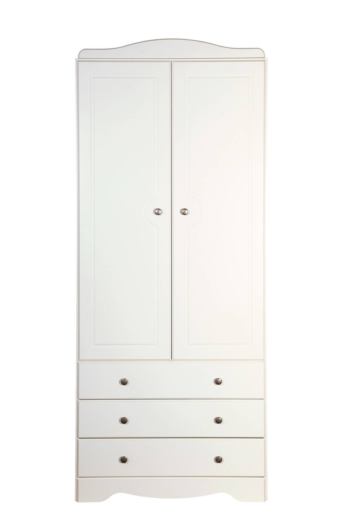 Milford 2 Door 3 Drawer Wardrobe White From The Original Factory Shop for 3 Door White Wardrobes (Image 14 of 30)