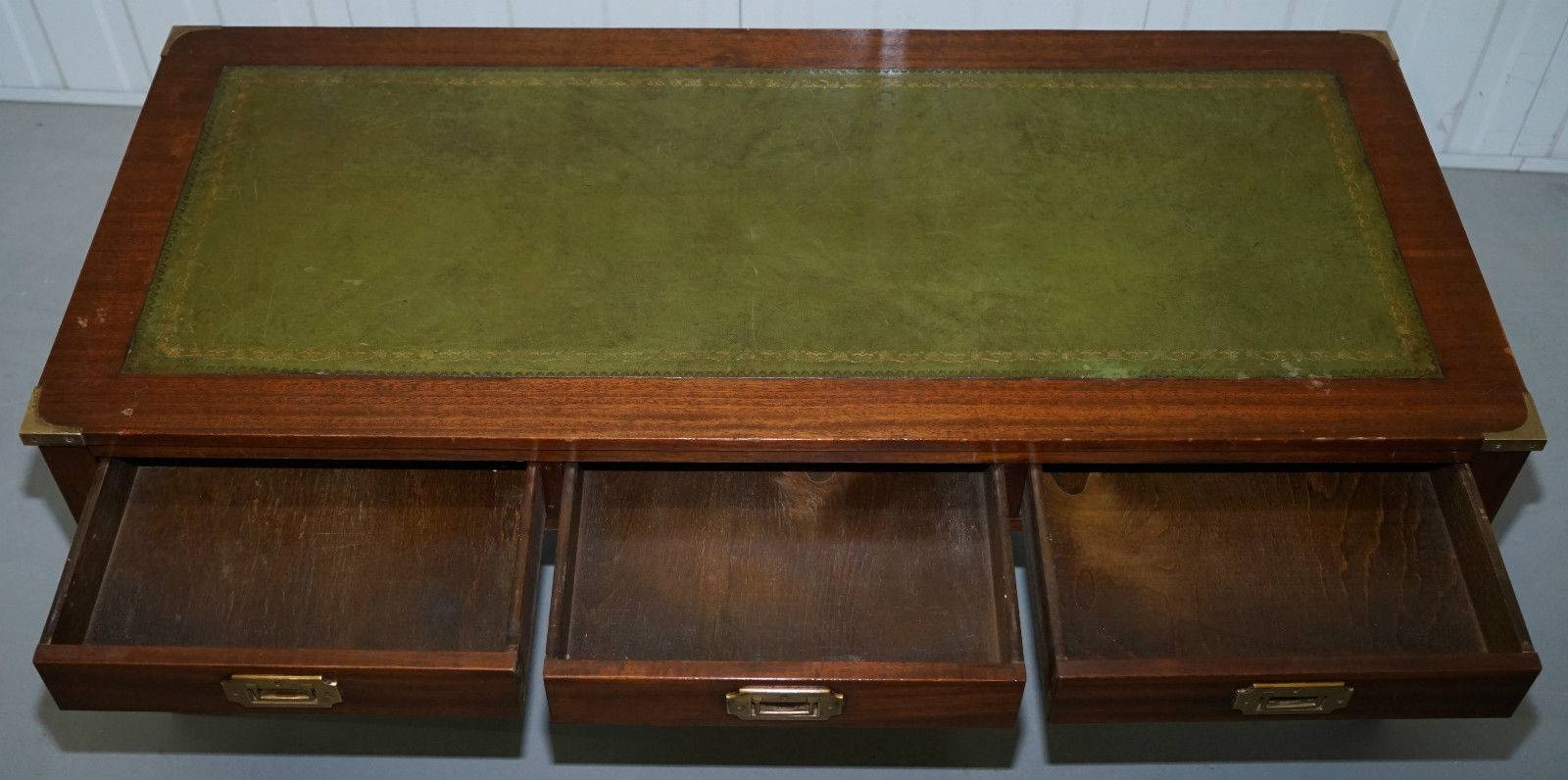 Military Campaign Coffee Table With Green Leather Surface in Campaign Coffee Tables (Image 24 of 30)