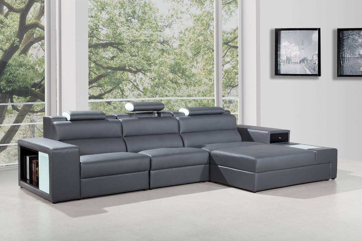 Mini Contemporary Grey Bonded Leather Sectional Sofa for Mini Sectional Sofas (Image 12 of 30)