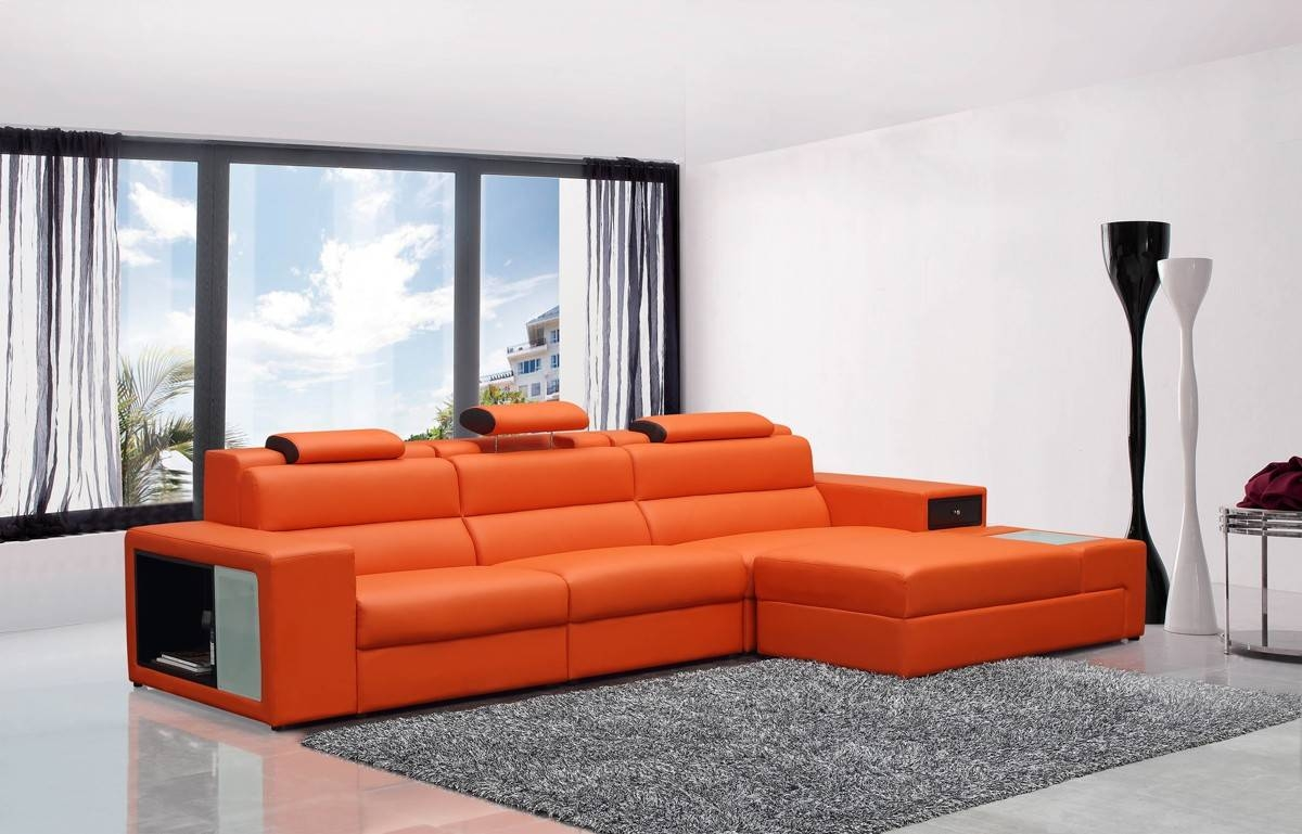Mini Contemporary Orange Bonded Leather Sectional Sofa in Mini Sectional Sofas (Image 13 of 30)