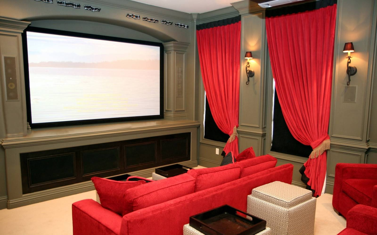 Minimalist Entertainment Room With Black Leather Couch And Black inside Theater Room Sofas (Image 24 of 30)