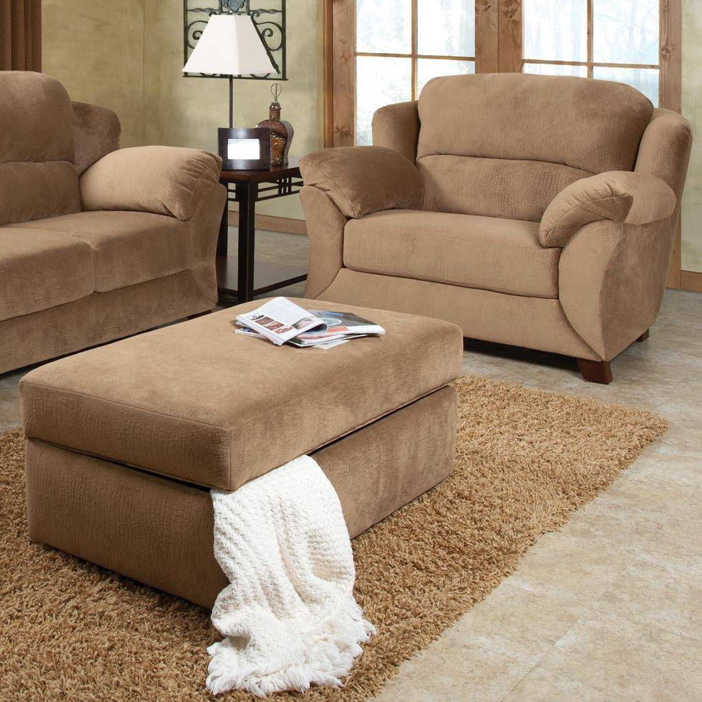 Minimalist Style Living Room Design With Brown Microfiber throughout Sofa Chair With Ottoman (Image 20 of 30)