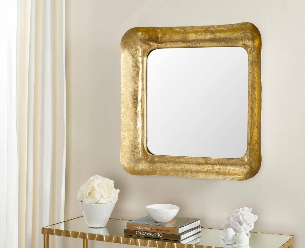 Mir4086A Mirrors – Safavieh Pertaining To Square Gold Mirrors (View 19 of 25)