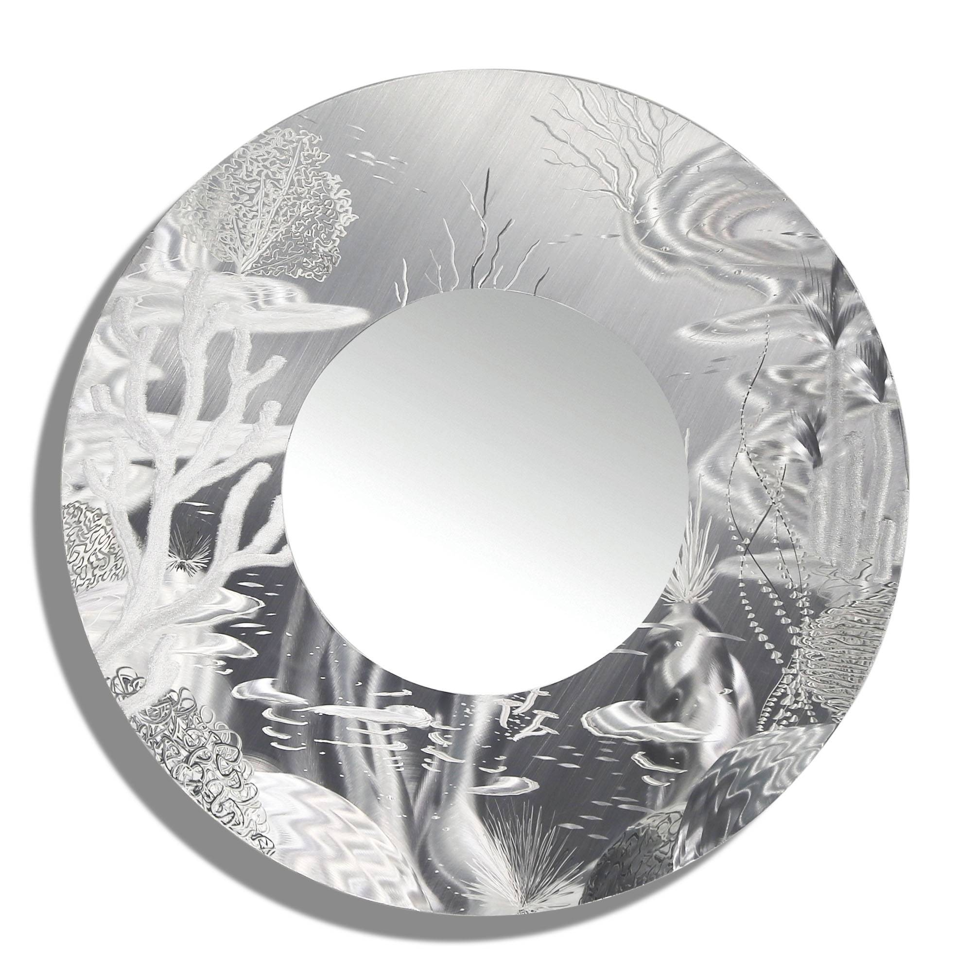Mirror 102 - All-Natural Silver Abstract Marine Life Circle Wall with Silver Mirrors (Image 11 of 25)