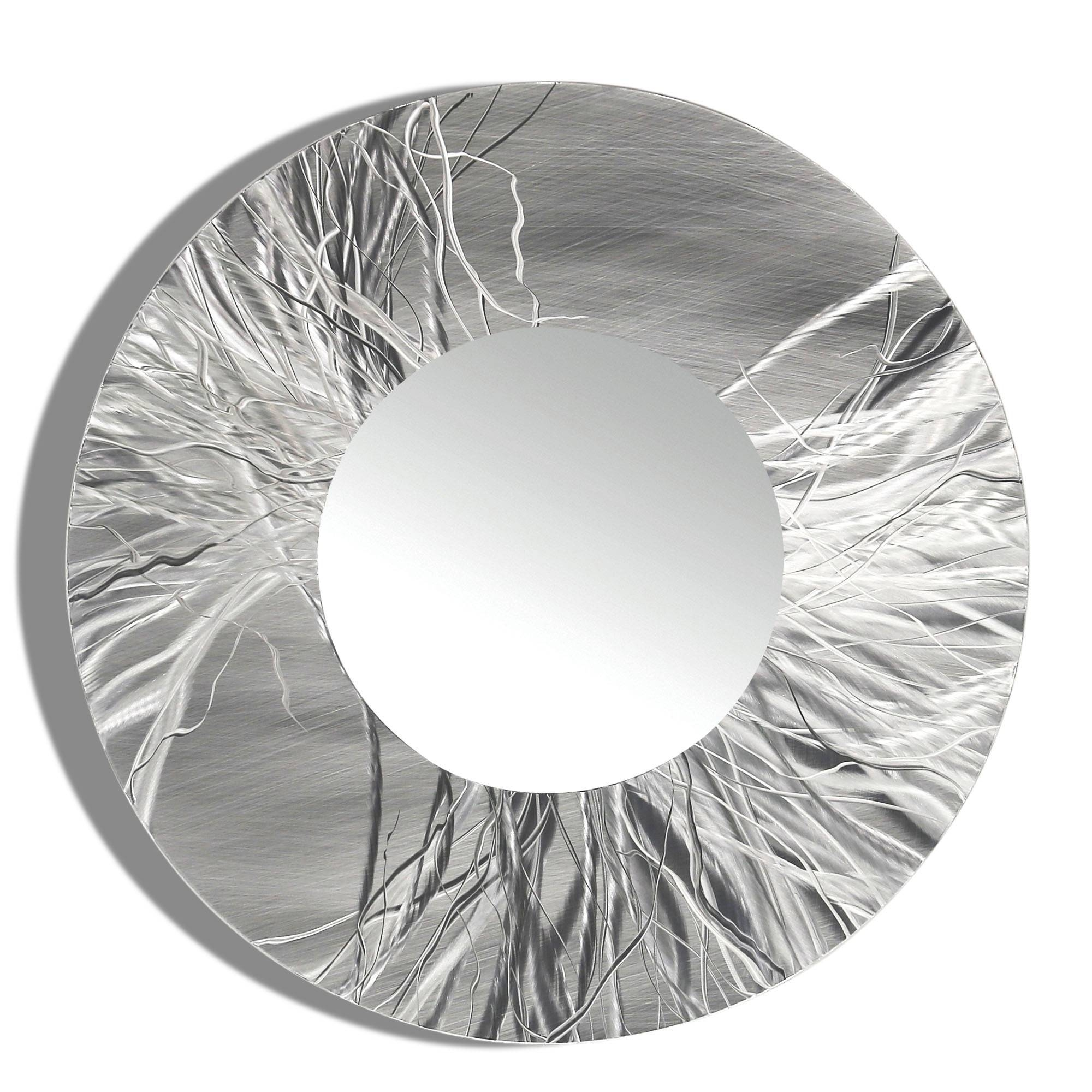 Mirror 104 - Round Silver Contemporary Metal Wall Art Round Mirror for Modern Silver Mirrors (Image 11 of 25)