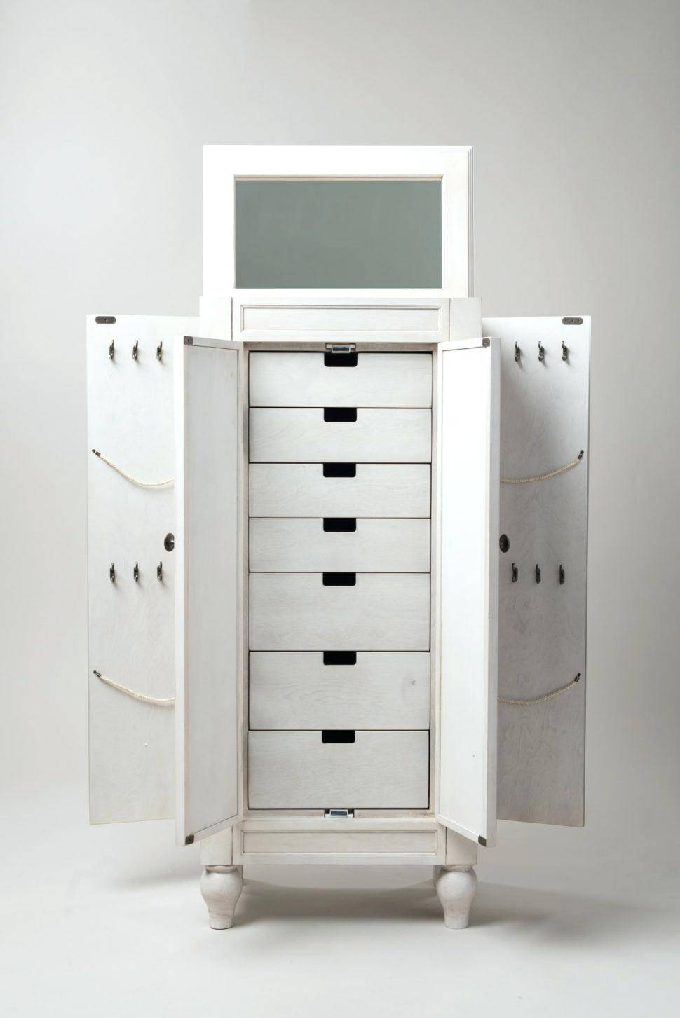Mirror Jewelry Armoire Leven Antique White 19384619 97220 Acme regarding White Wicker Wardrobes (Image 10 of 15)