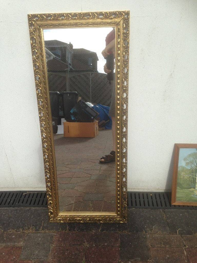 Mirror Long And Narrow Frame Gilt Edged | In Christchurch, Dorset for Gilt Edged Mirrors (Image 19 of 25)