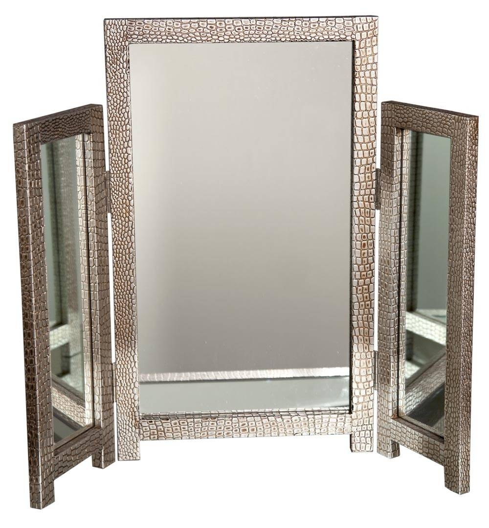 Mirror-Moc-Croc-Silver-Dressing-Table-Mirror in Gold Table Mirrors (Image 15 of 25)