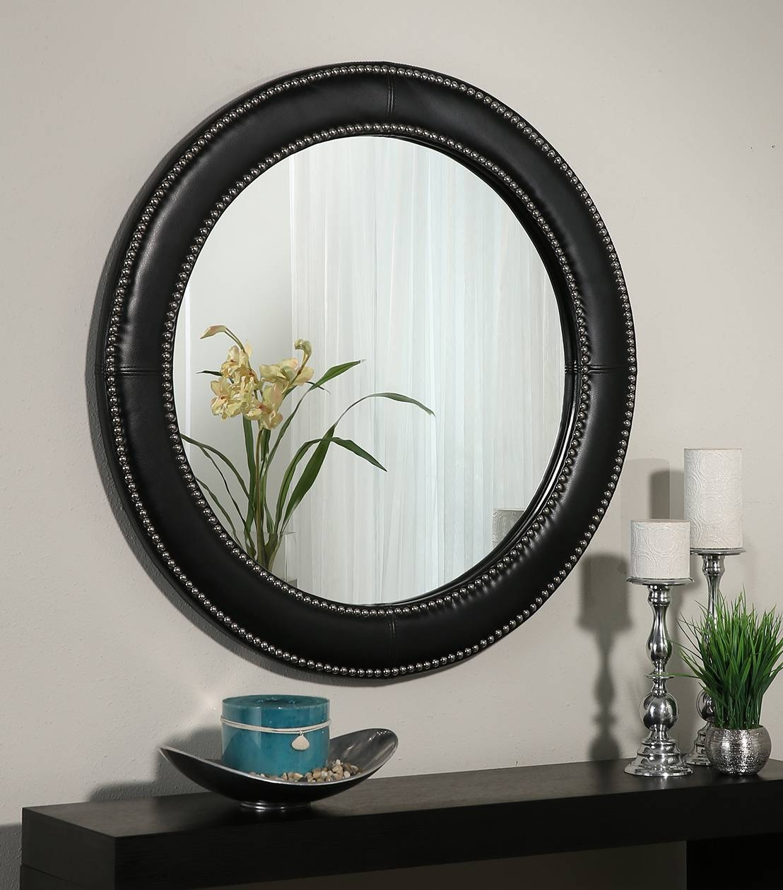 Mirrors : Celine Black Leather Round Wall Mirror within Leather Wall Mirrors (Image 21 of 25)