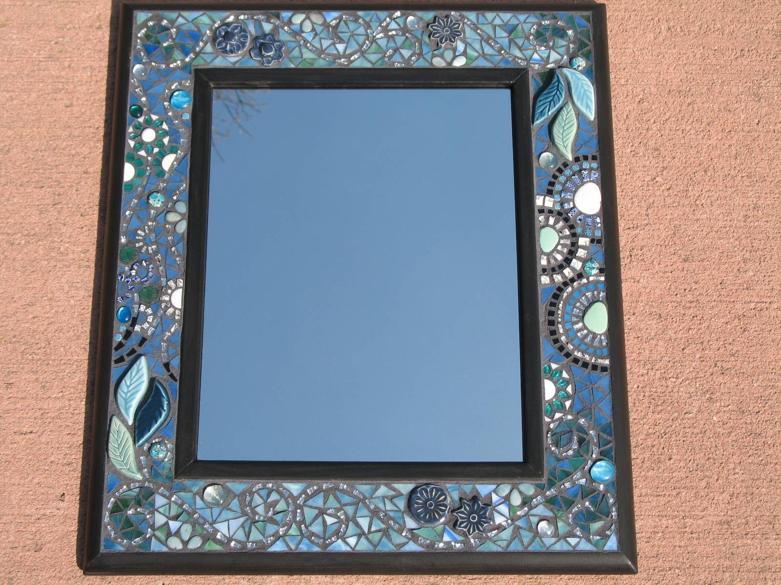Mirrors | Tanya Schreiber Mosaics in Mirrors With Blue Frame (Image 20 of 25)