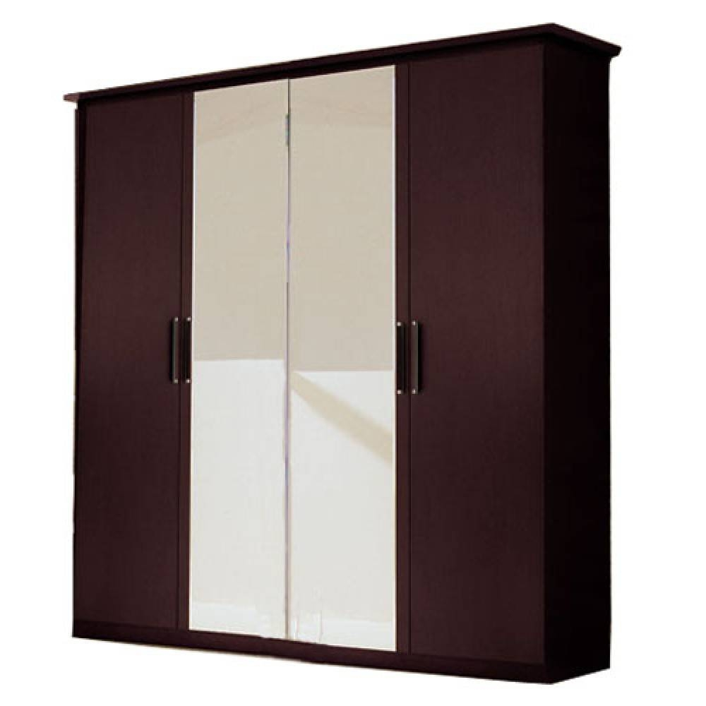 Miss Italia 4-Doors Wardrobe   2 Mirror Doors, Esf Furniture inside Wardrobes With 4 Doors (Image 12 of 15)