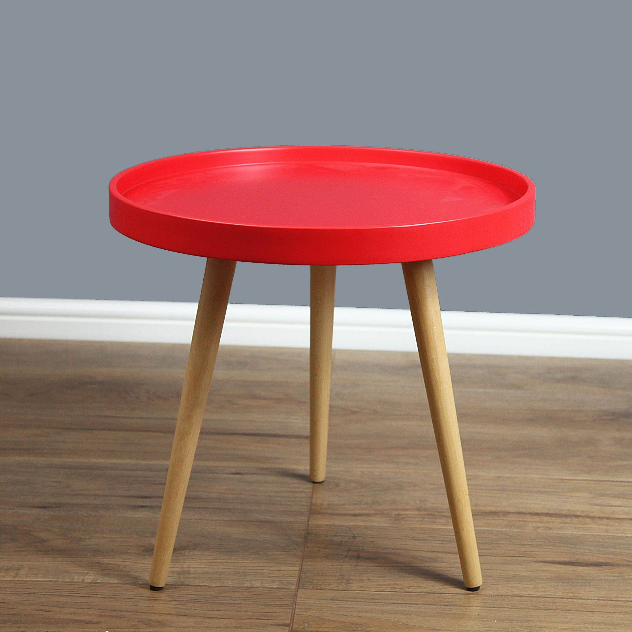 Mmilo Capri Round Tray Table In 50Cm - Red Matt regarding Round Red Coffee Tables (Image 18 of 30)
