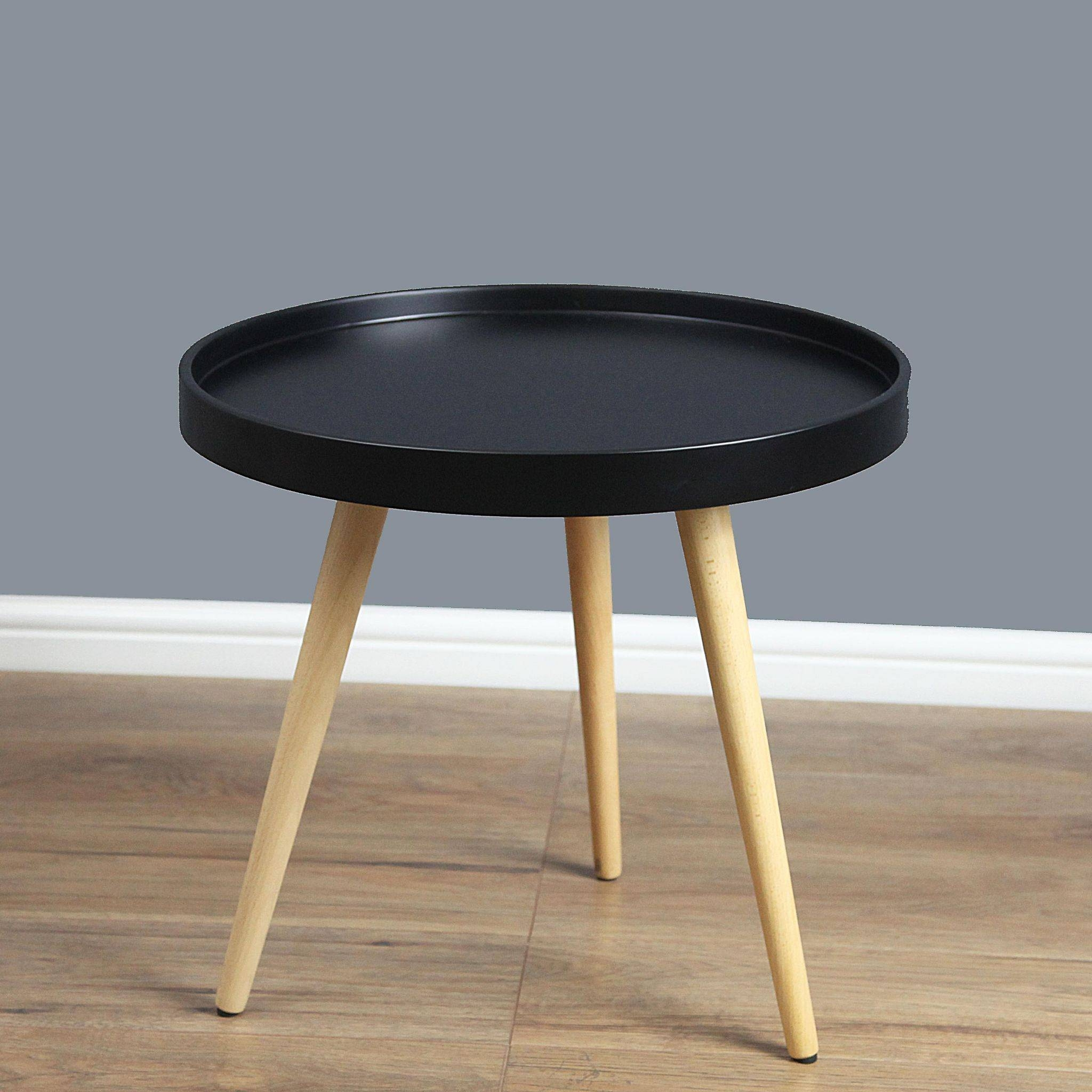 Mmilo Capri Round Tray Table In 60Cm/24Inch- Black within Round Tray Coffee Tables (Image 15 of 30)