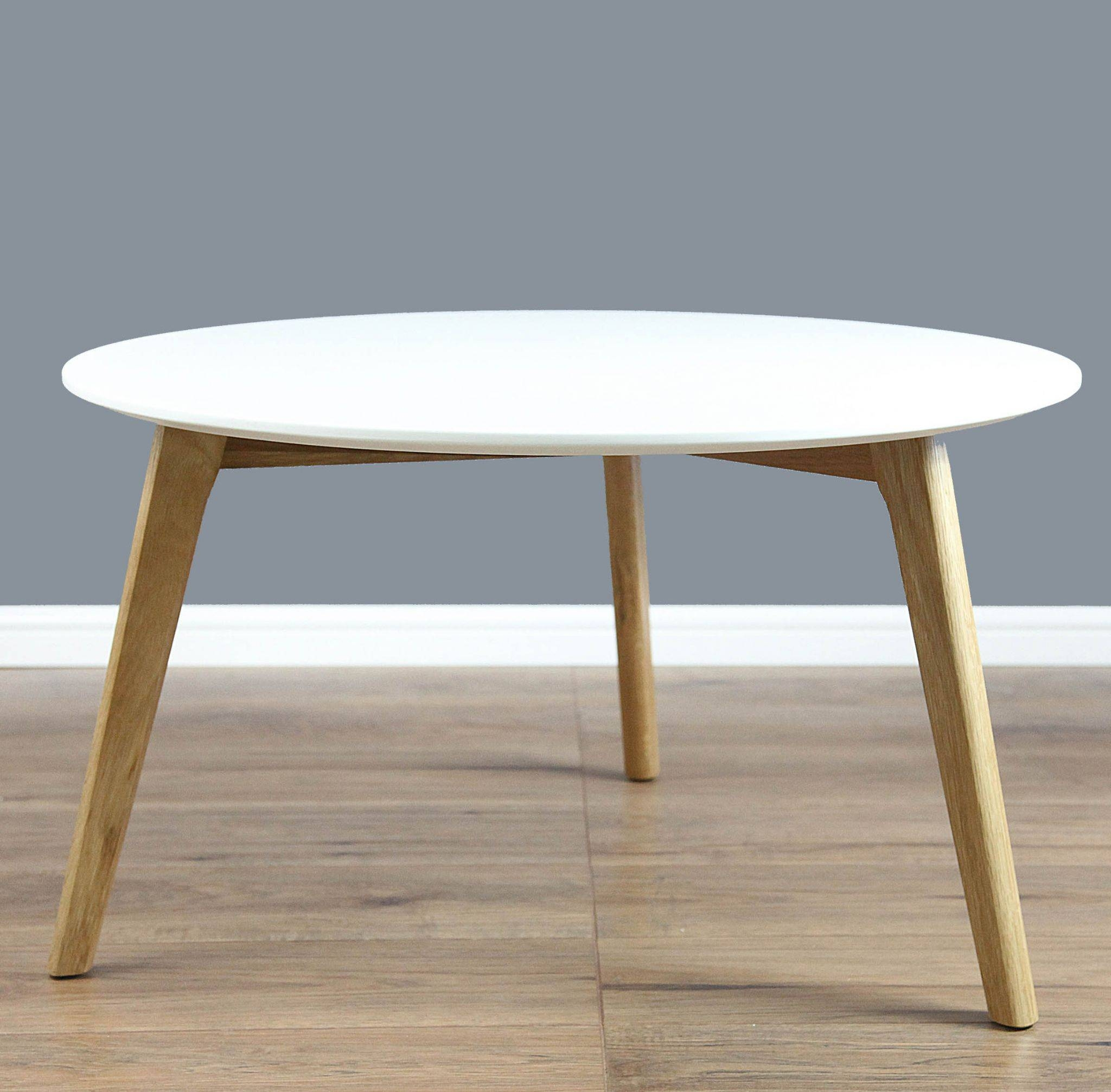 Mmilo Spio Round Coffee Table Side Table With Solid Oak Legs In With White And Oak Coffee Tables (View 11 of 30)