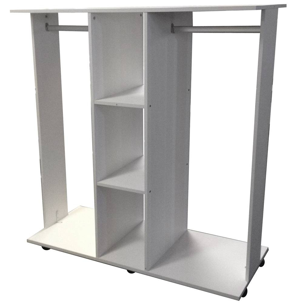 Mobile - Double Open Wardrobe / Clothes Hanging Rail - White inside Double Clothes Rail Wardrobes (Image 15 of 30)