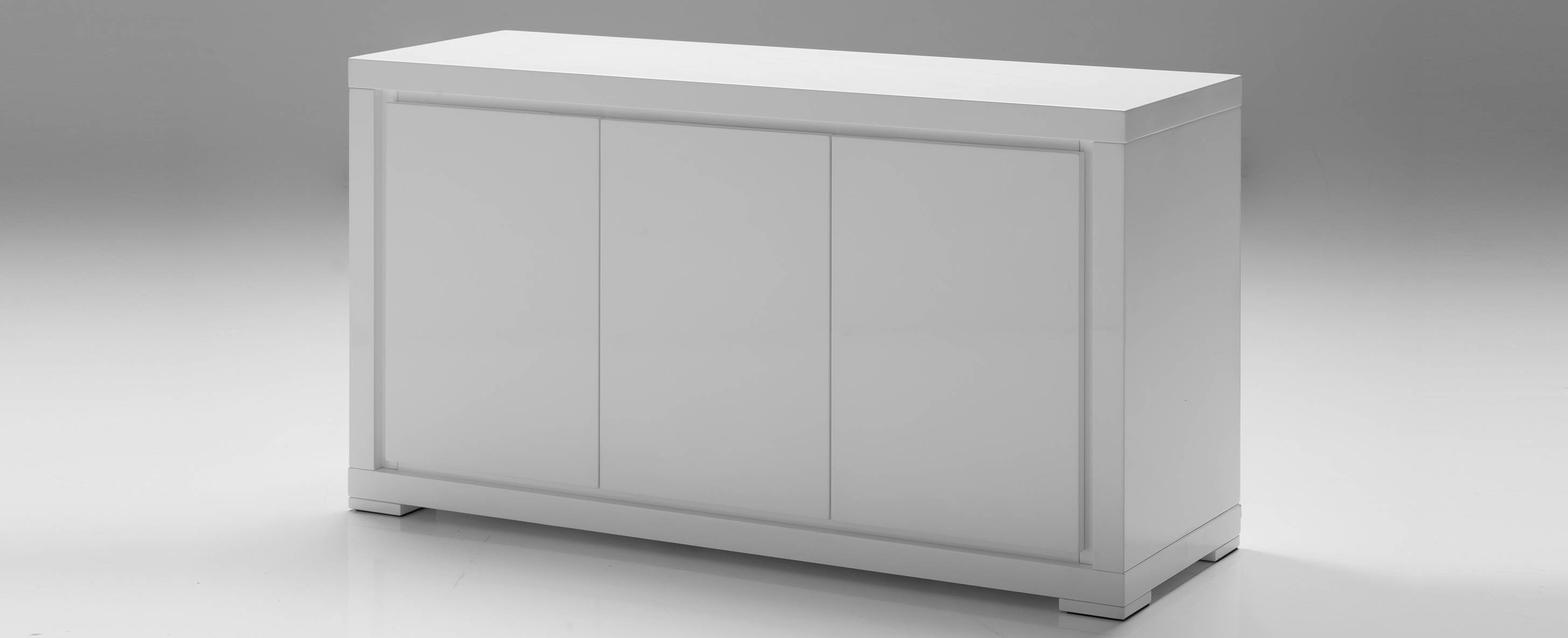 Mobital Moda 3-Door Dining Buffet In High Gloss White - Beyond Stores regarding Gloss White Sideboards (Image 17 of 30)