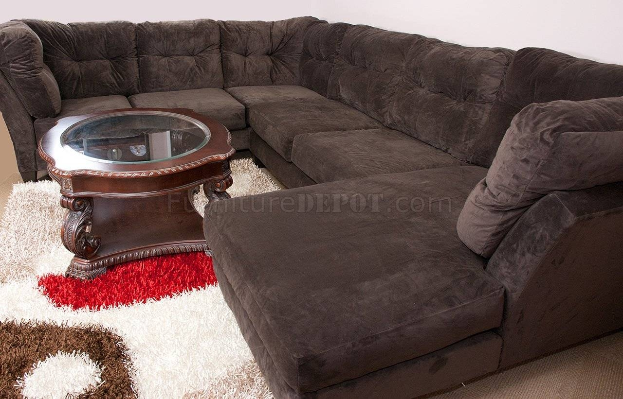 Mocha Brown Suede Fabric Modern 3Pc Sectional Sofa Inside Soft Sectional Sofas (View 19 of 30)