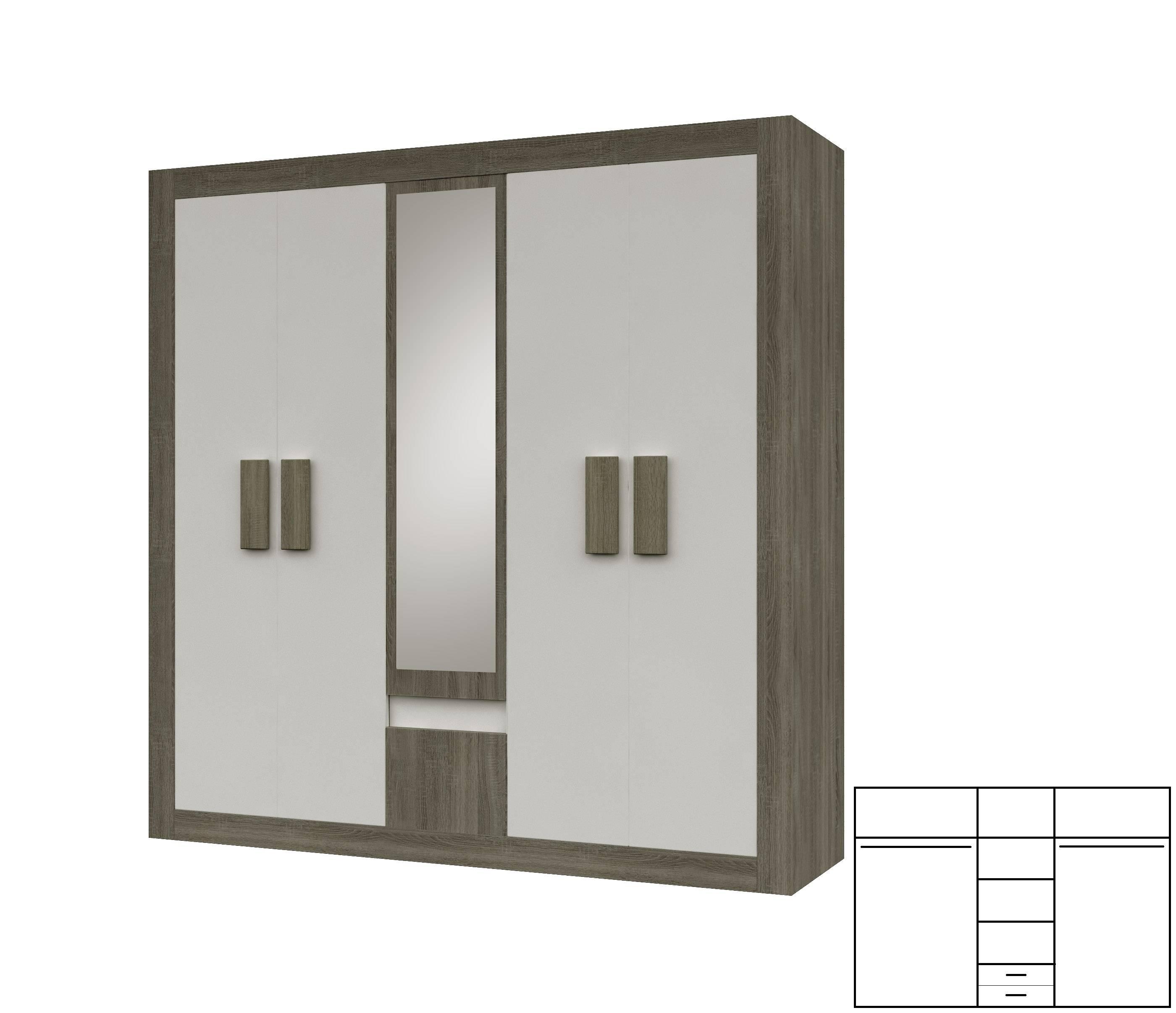 Modern 5 Door Wardrobe Mirror 2 Hanging Rails 2 Drawers 6 Shelves Intended For 5 Door Wardrobes (View 13 of 15)