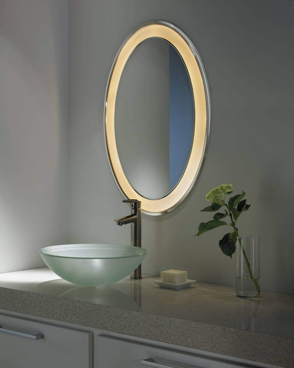 Modern Bathroom Mirrors. Bathroom Mirror With Solid Wood Frame regarding White Oval Bathroom Mirrors (Image 19 of 25)