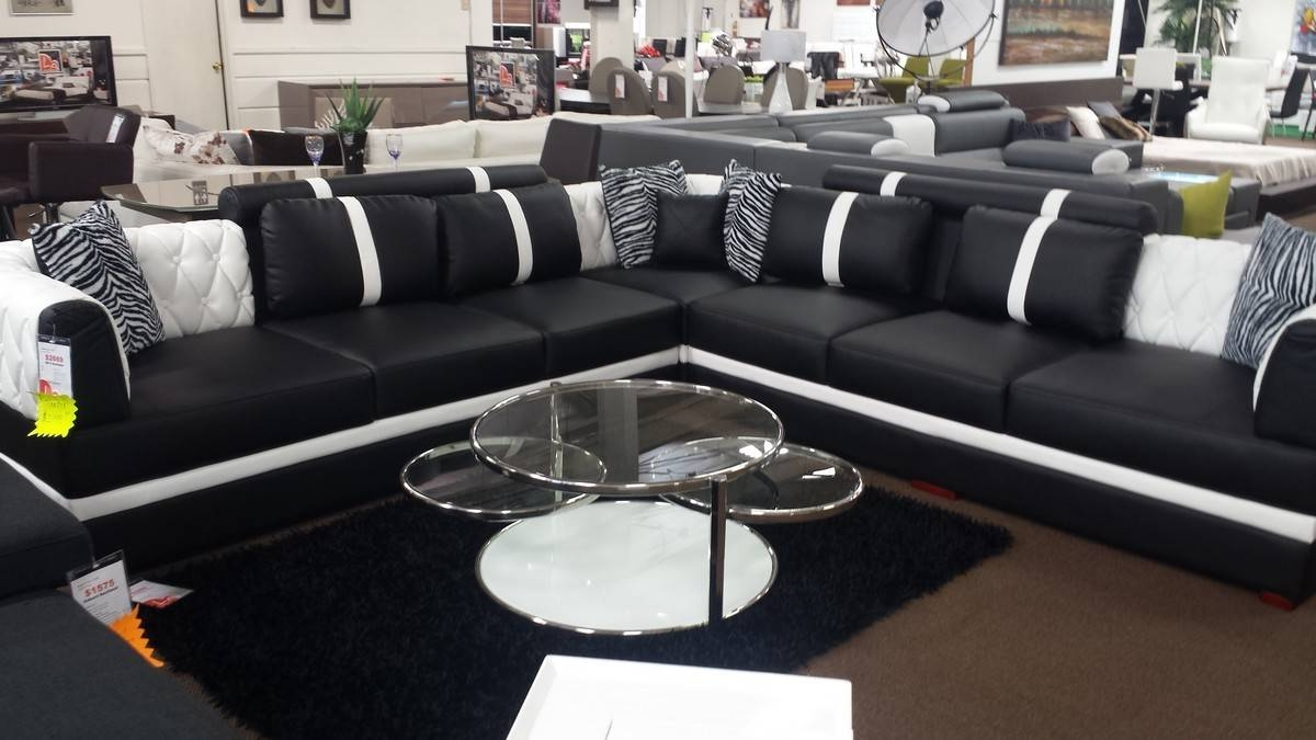 Modern Black And White Leather Sectional Sofa Intended For Black And White Sectional Sofa (View 7 of 30)