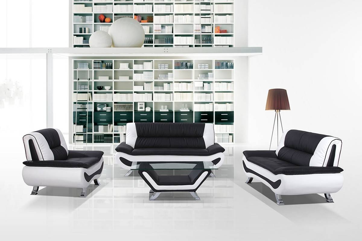 Modern Black And White Sofa Set in Black and White Sofas (Image 18 of 30)