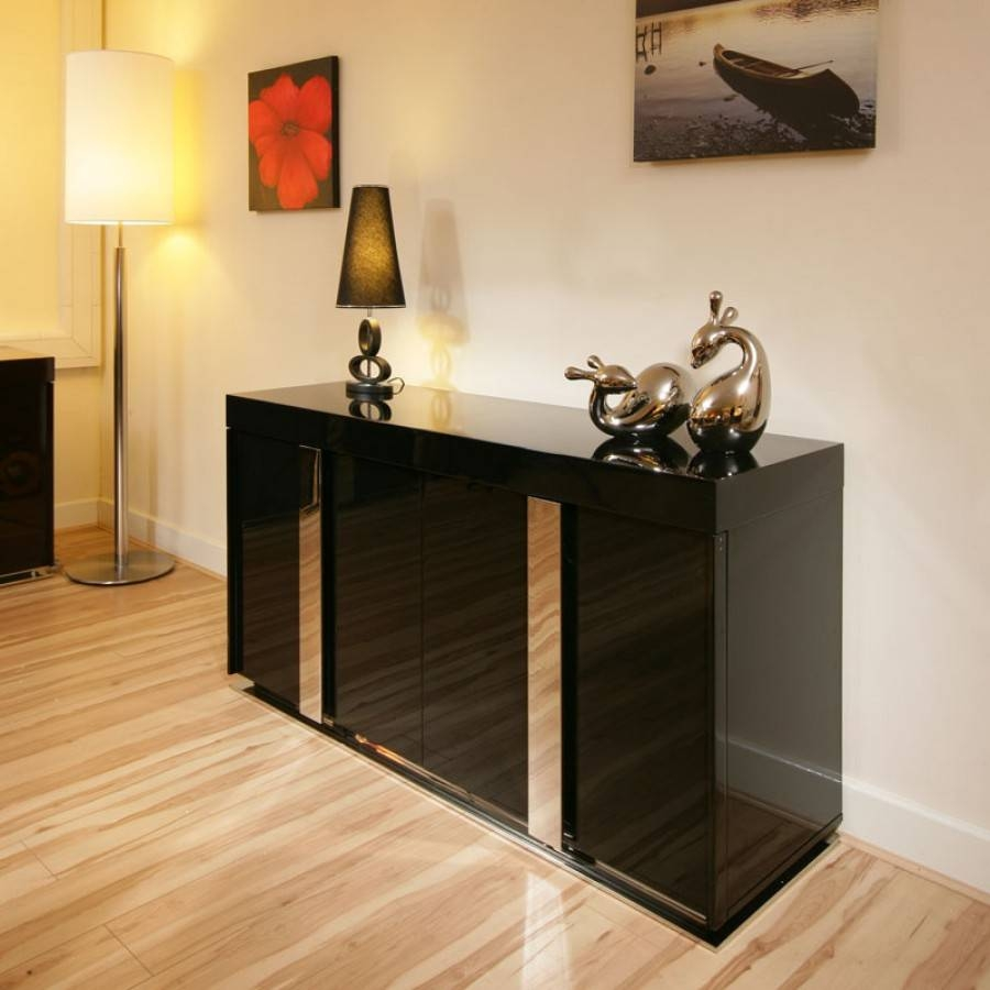 Modern Black High Gloss Sideboard / Cabinet / Buffet 1.6Mtr 912M within Black Gloss Sideboards (Image 21 of 30)