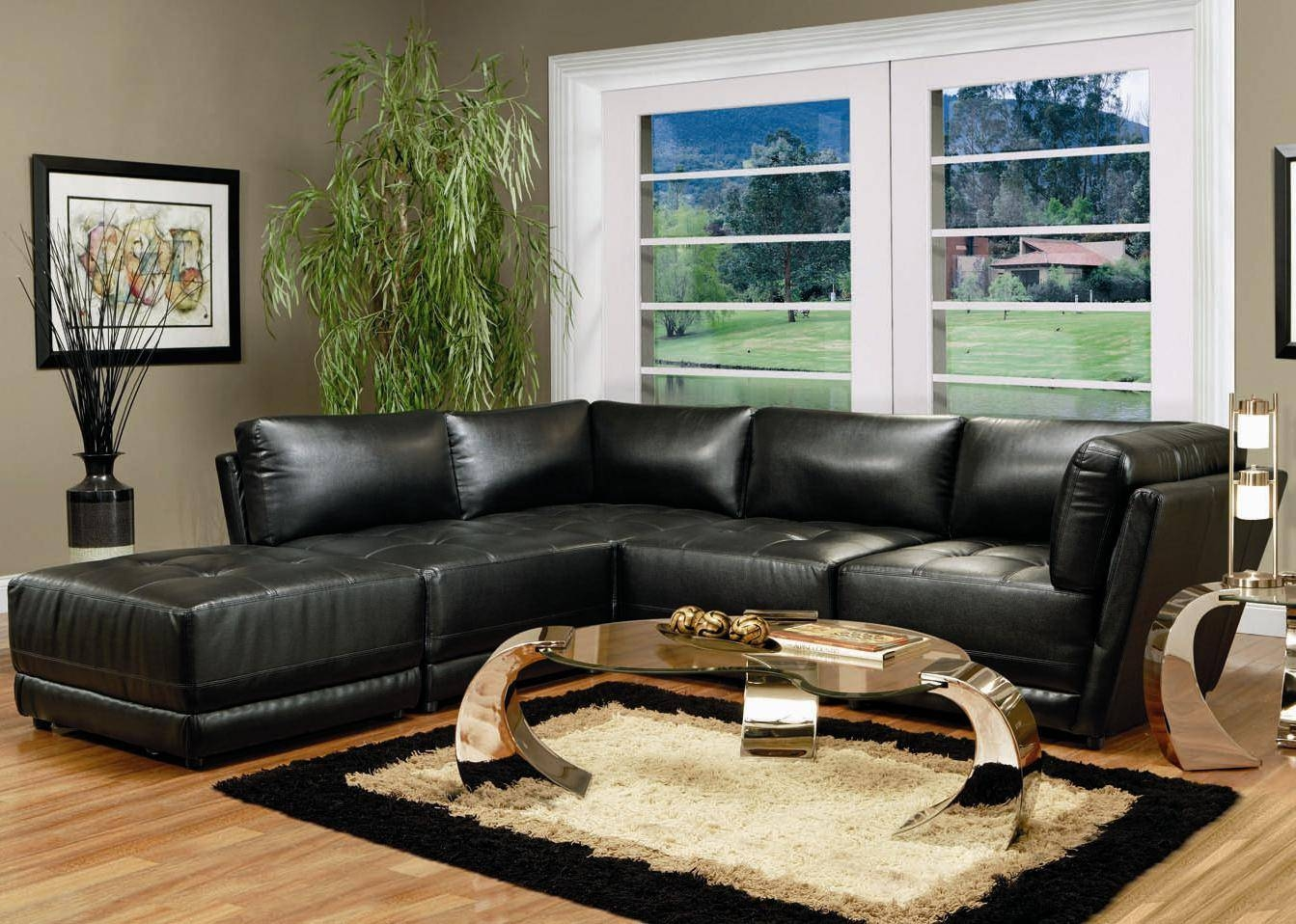 Modern Black Leather Modular Sofa within Leather Modular Sectional Sofas (Image 21 of 30)