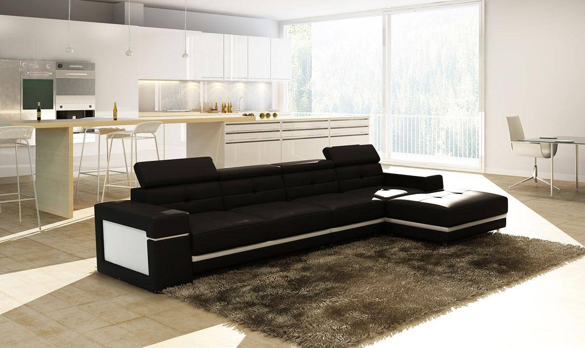 Modern Bonded Leather Sectional Sofa | Welcome To Decoreza Furniture Regarding Black And White Sectional Sofa (View 21 of 30)
