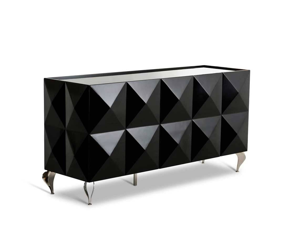 Modern Buffets | Contemporary Stations Throughout Black Gloss Buffet  Sideboards (Image 14 Of 30)