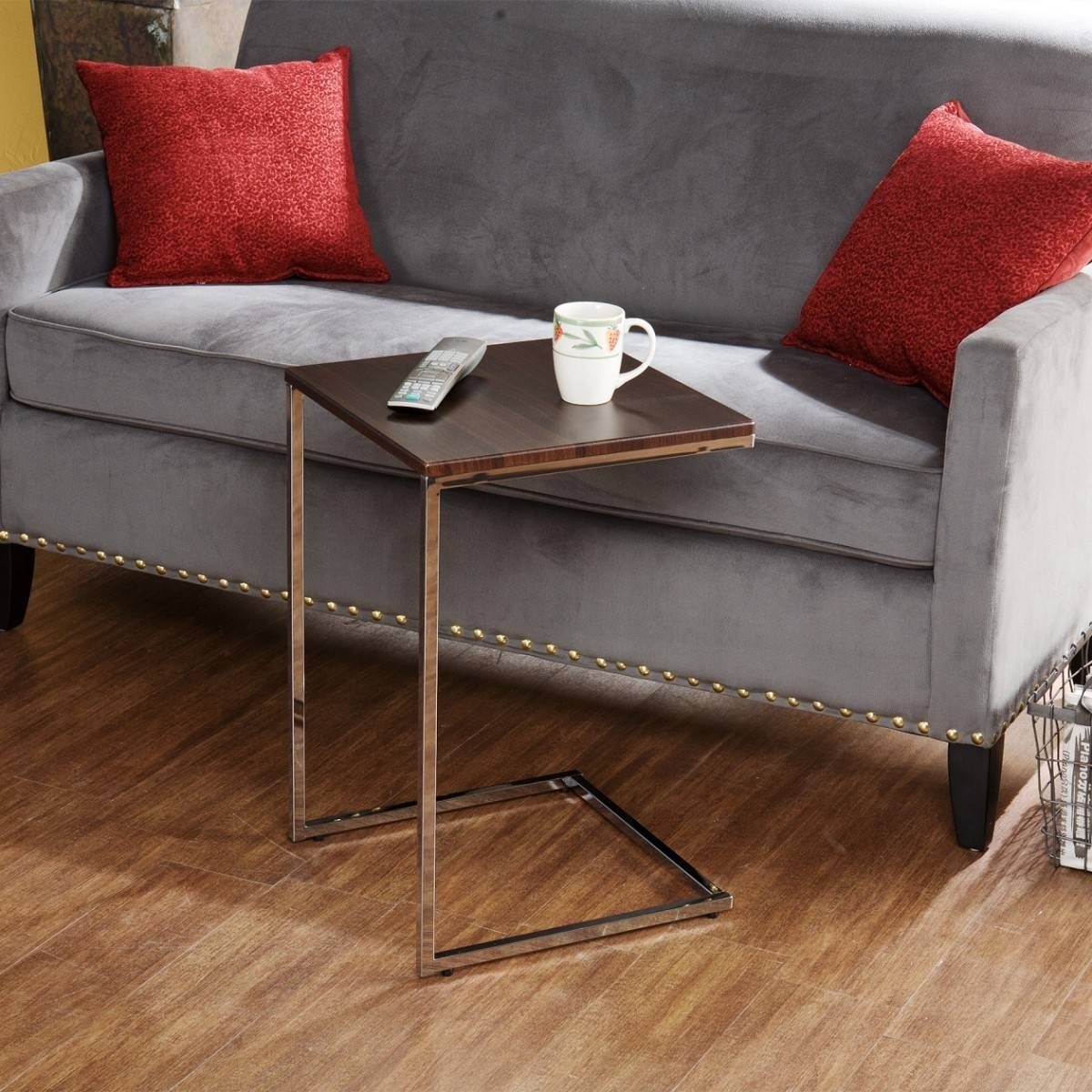 Modern C Coffee Table Tv Tray With Metal Stand And Wooden Top Ideas regarding C Coffee Tables (Image 21 of 30)
