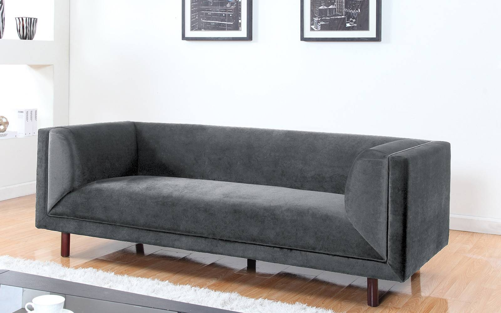 Modern Contemporary Large 3 Seater Velvet Sofa - Walmart pertaining to Modern 3 Seater Sofas (Image 21 of 30)