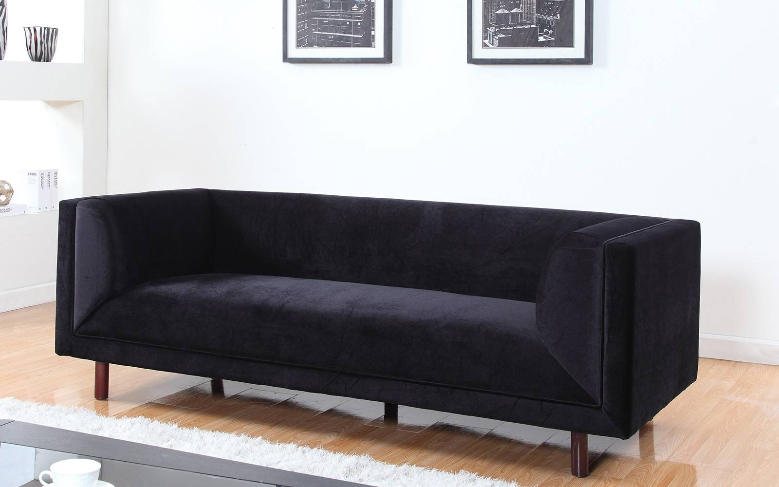 Modern Contemporary Large 3 Seater Velvet Sofa - Walmart with regard to Black Velvet Sofas (Image 17 of 30)