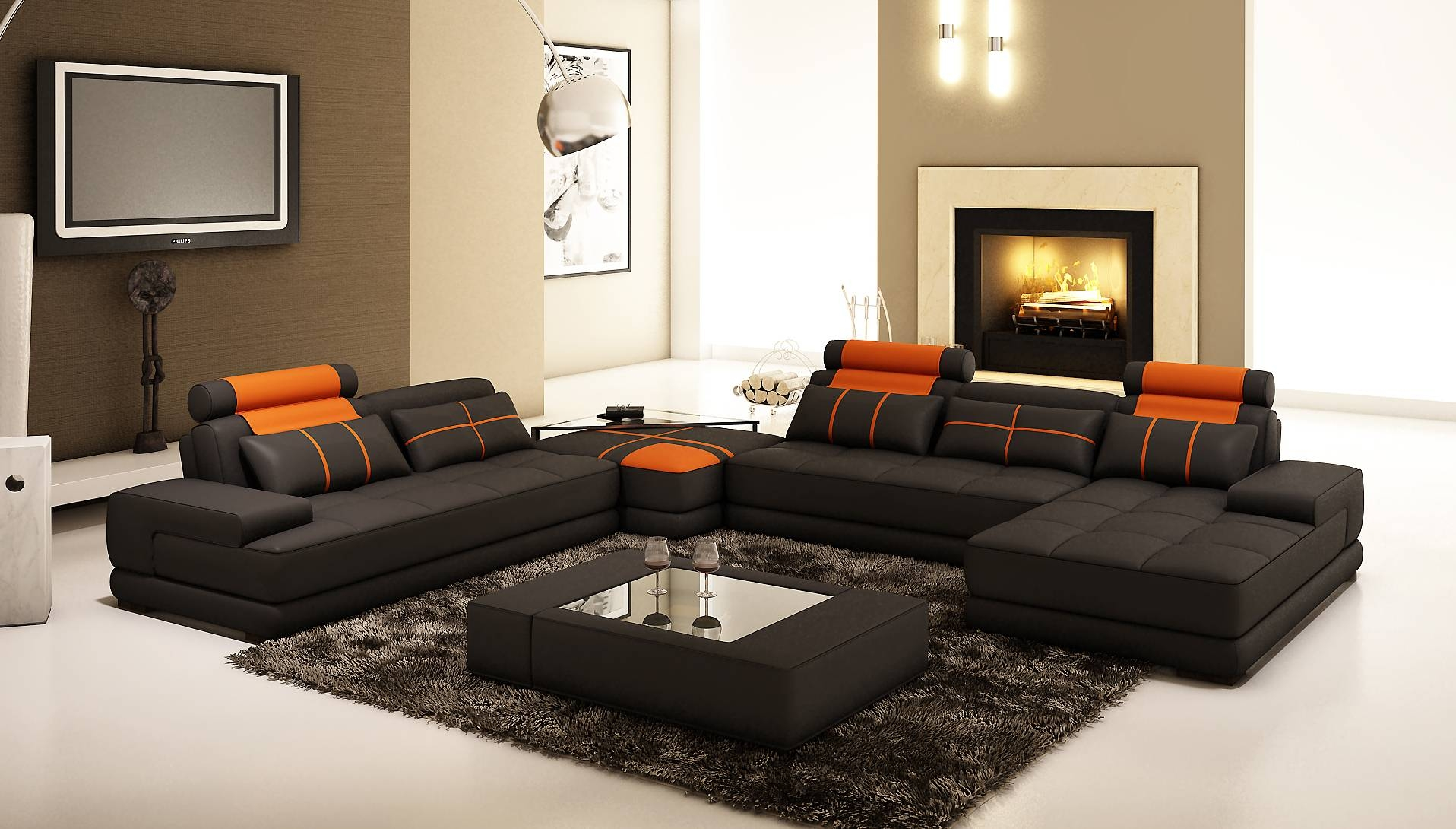 Modern Corner Sofas Images Awesome Innovative Home Design with Large Black Leather Corner Sofas (Image 19 of 30)