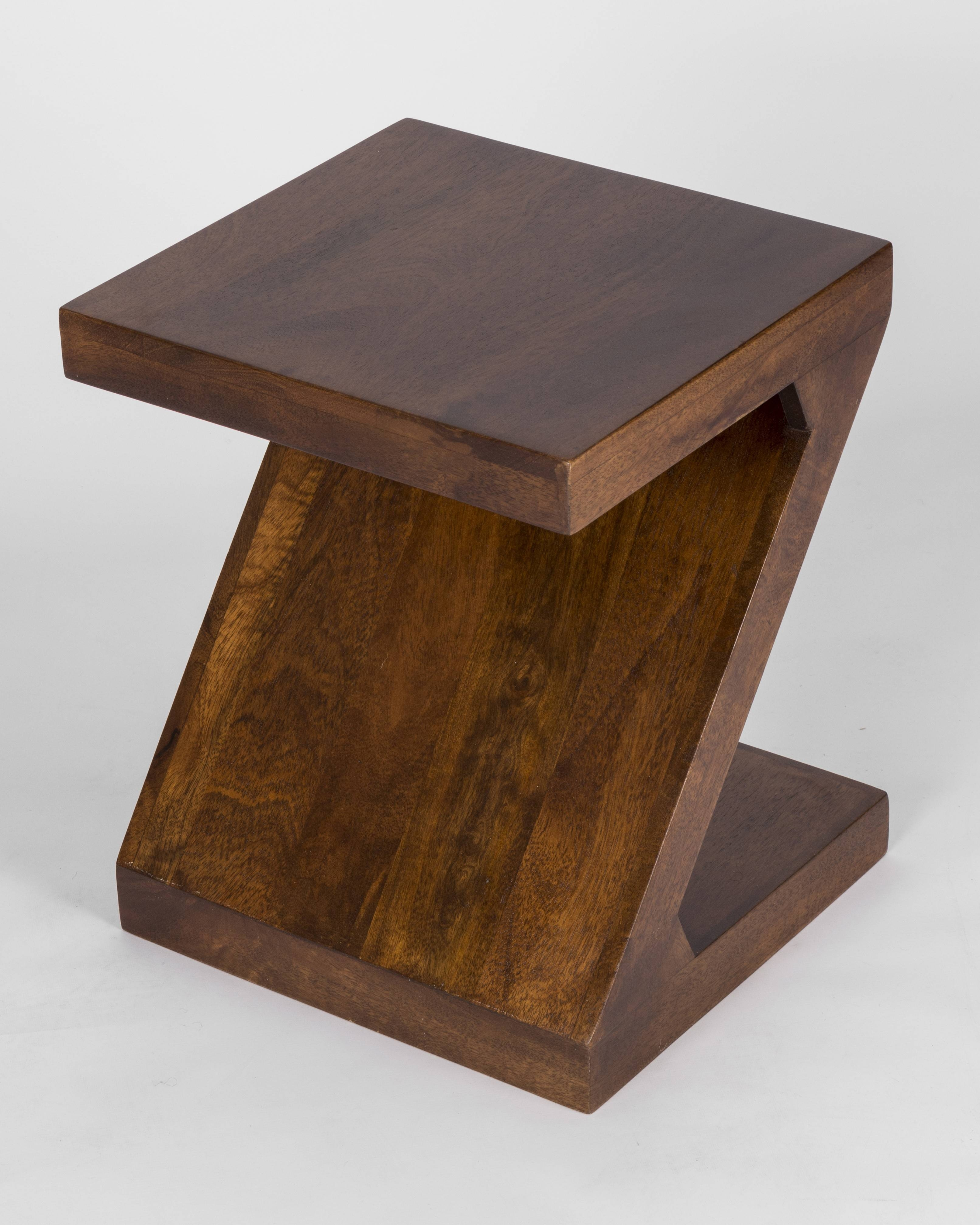 Modern Dakota Z Shaped Side Table Solid Mango Wood Dark Shade within Dark Mango Coffee Tables (Image 25 of 30)