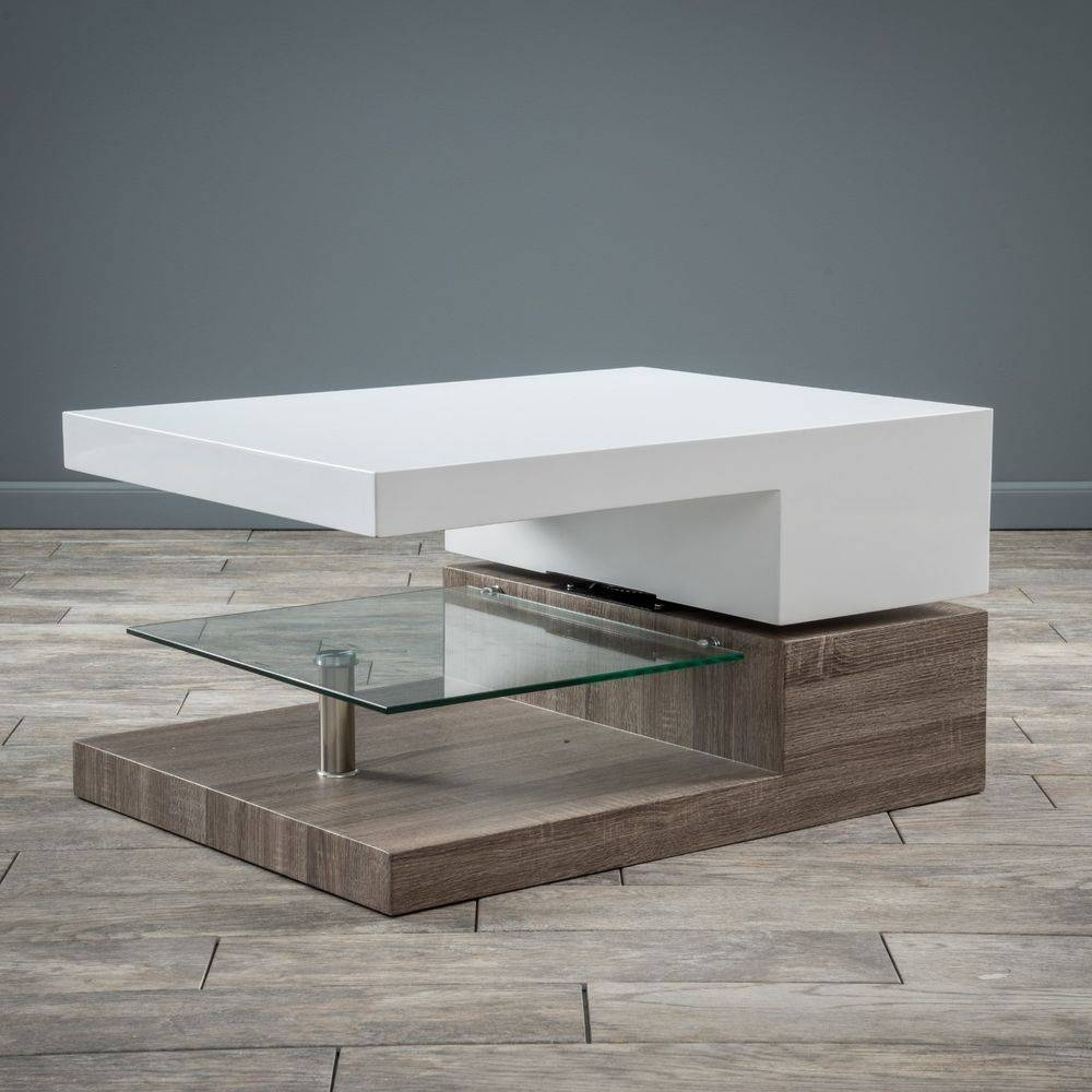 Modern Design White Gloss Wood Rectangular Swivel Coffee Table W For White Wood And Glass Coffee Tables (View 7 of 30)