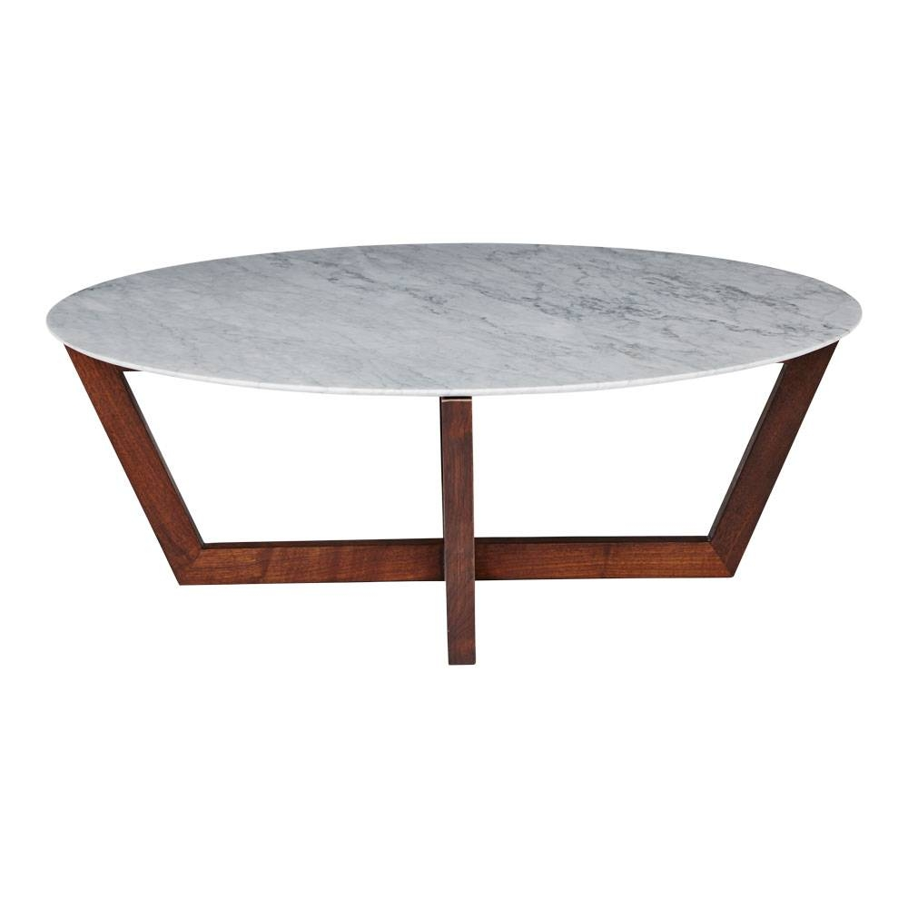 Modern Designer Round Italian Marble Coffee Table - Walnut Wooden Base with regard to White Marble Coffee Tables (Image 23 of 30)