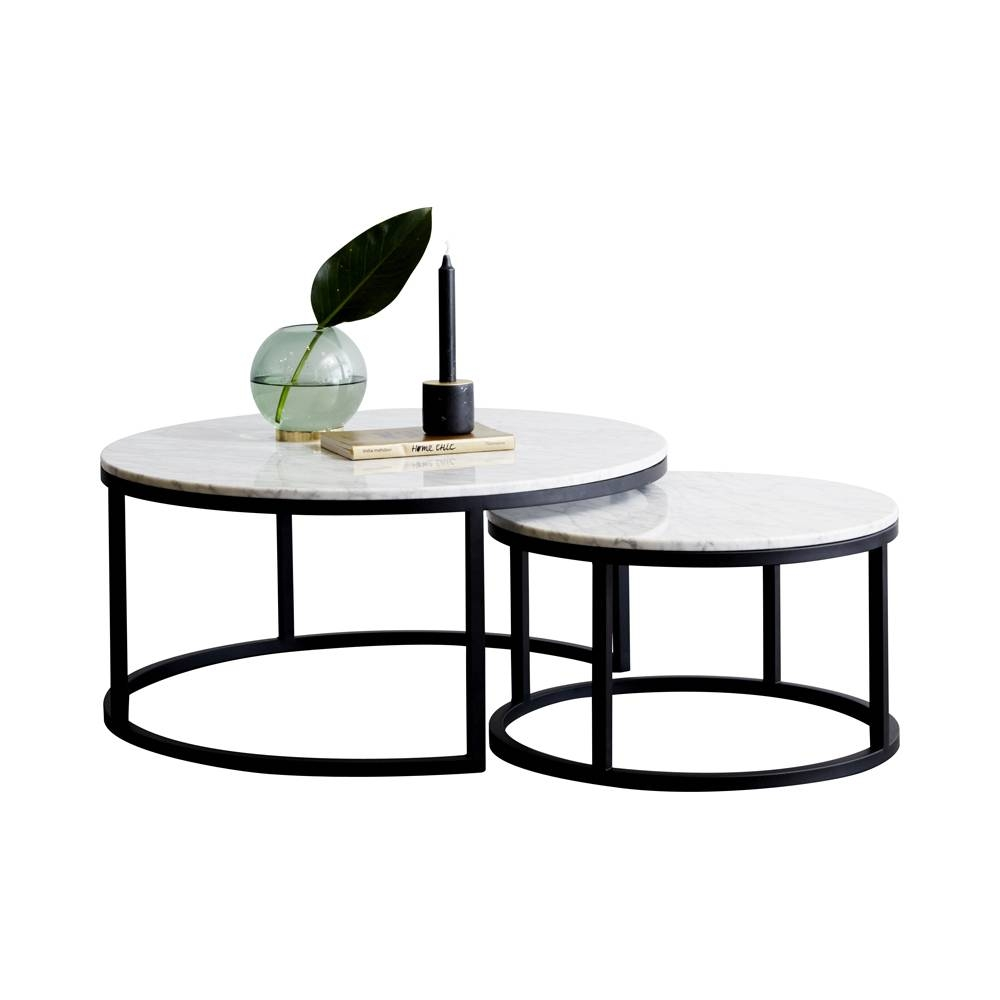Modern Designer Round Nesting Marble Coffee Tables - Black Steel intended for Marble And Metal Coffee Tables (Image 23 of 30)