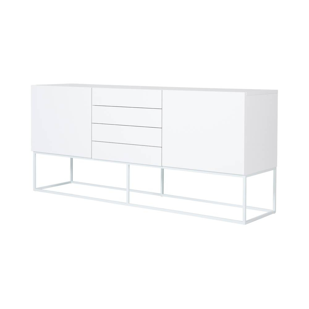 Modern Designer White Balmain Buffet/sideboard - White Steel Metal inside White Contemporary Sideboards (Image 16 of 30)