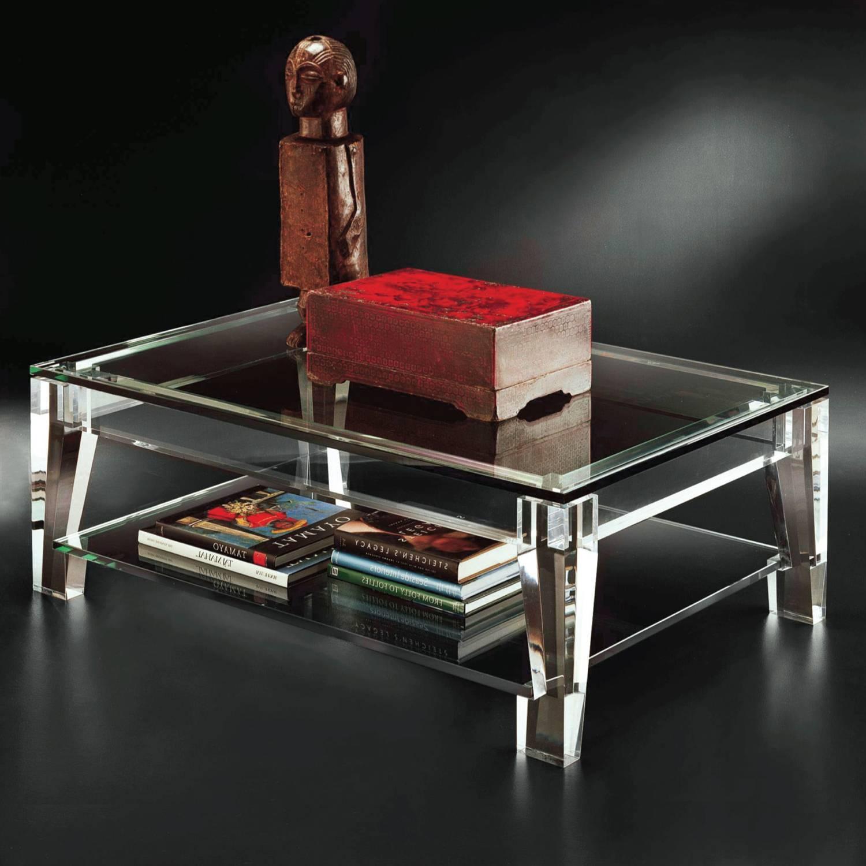 Modern Elena Coffee Table Clear Glass/black Border Coffee Table intended for Elena Coffee Tables (Image 27 of 30)