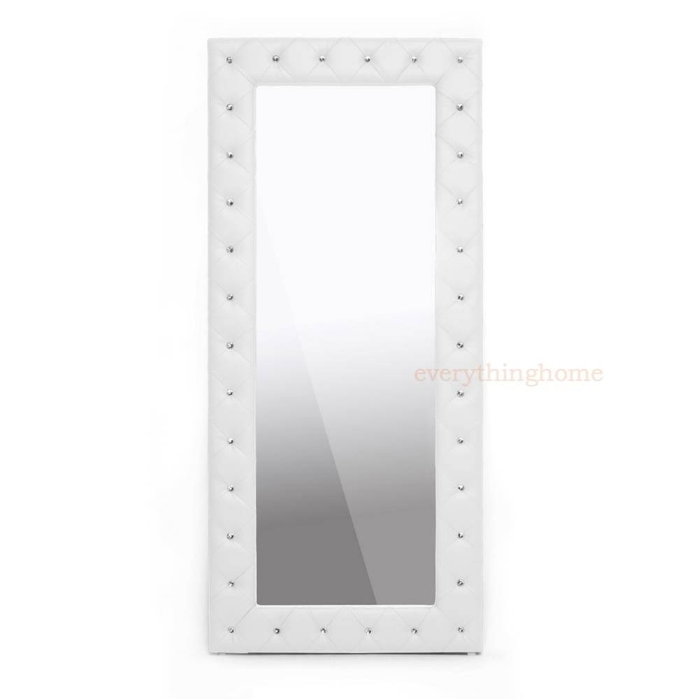 Modern Faux Leather Faux Crystal Tufted Floor Mirror White Or Regarding Black Faux Leather Mirrors (View 17 of 25)