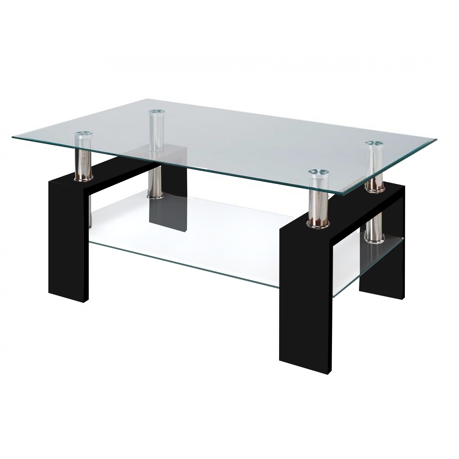 Modern Glass Black Coffee Table With Shelf Contemporary throughout Desk Coffee Tables (Image 18 of 30)