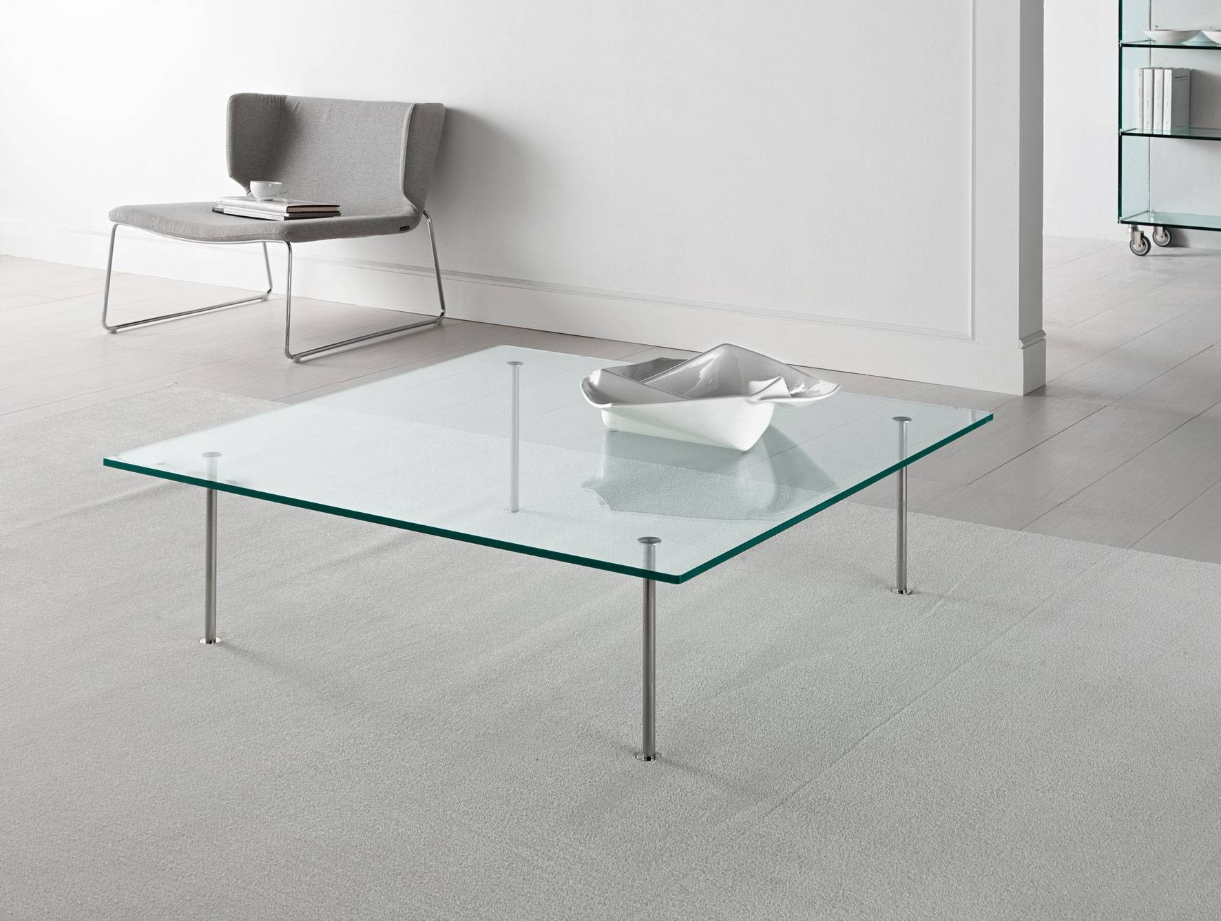 Modern Glass Coffee Table Chrome Finish Tempered Glass Surface Within Steel And Glass Coffee Tables (View 21 of 30)